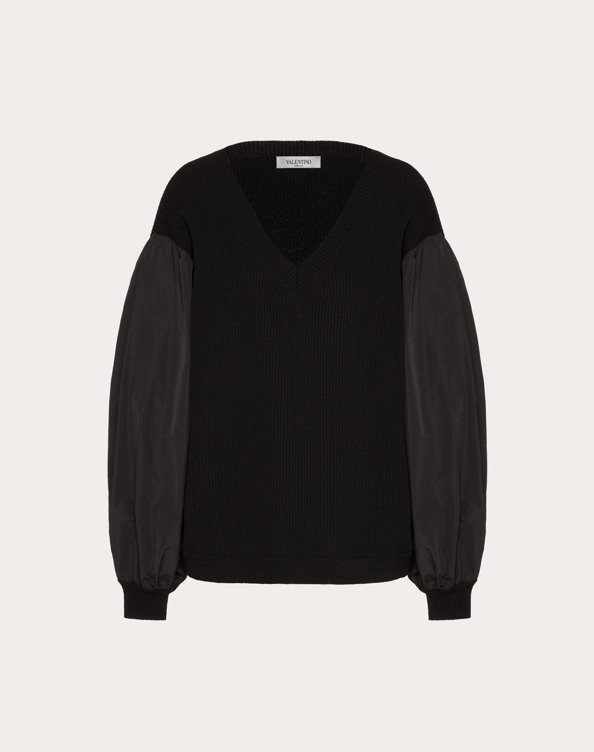 Cashmere Wool and Micro-Faille Sweater 4