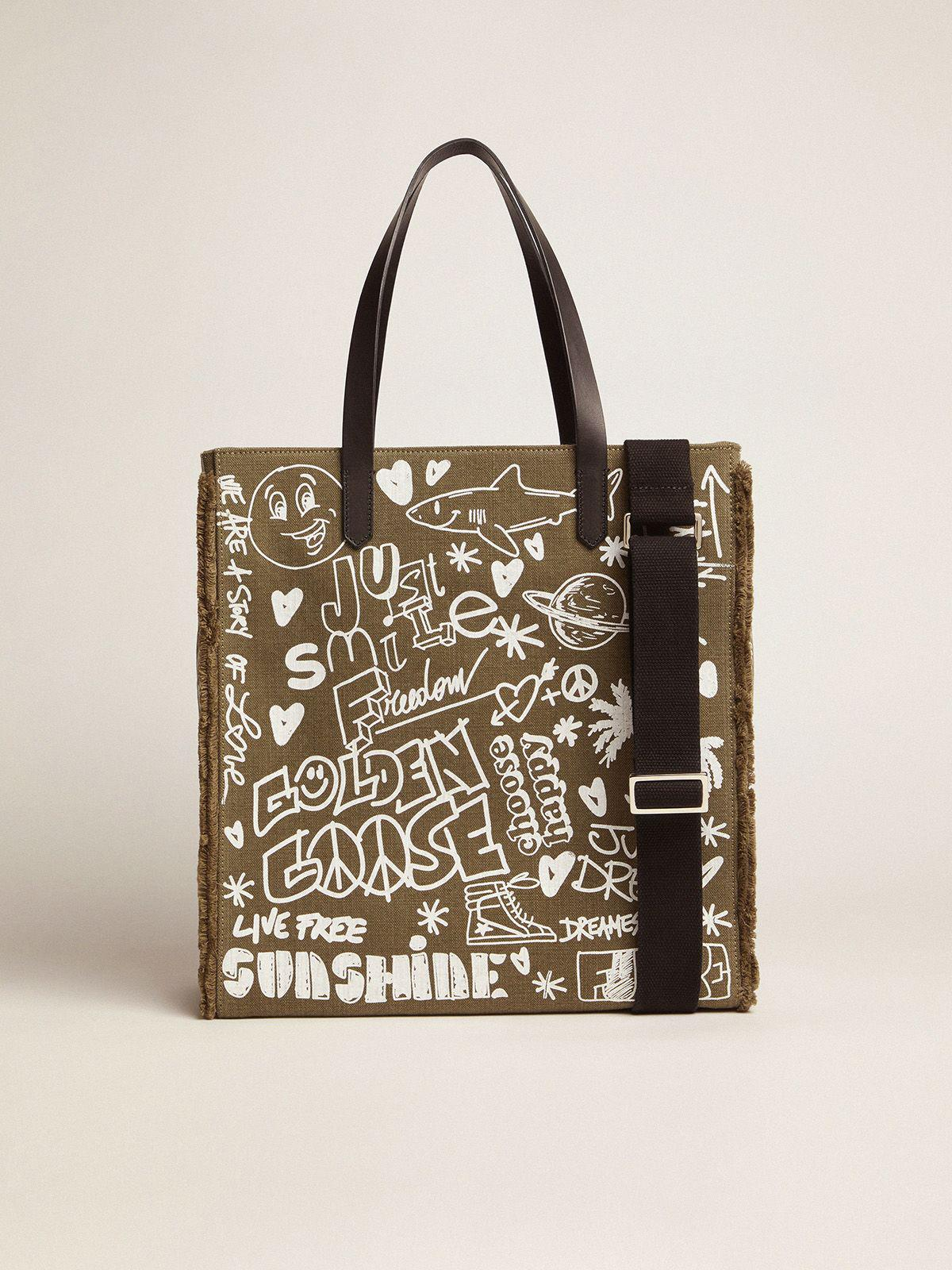 North-South California Bag in military green canvas with graffiti 1