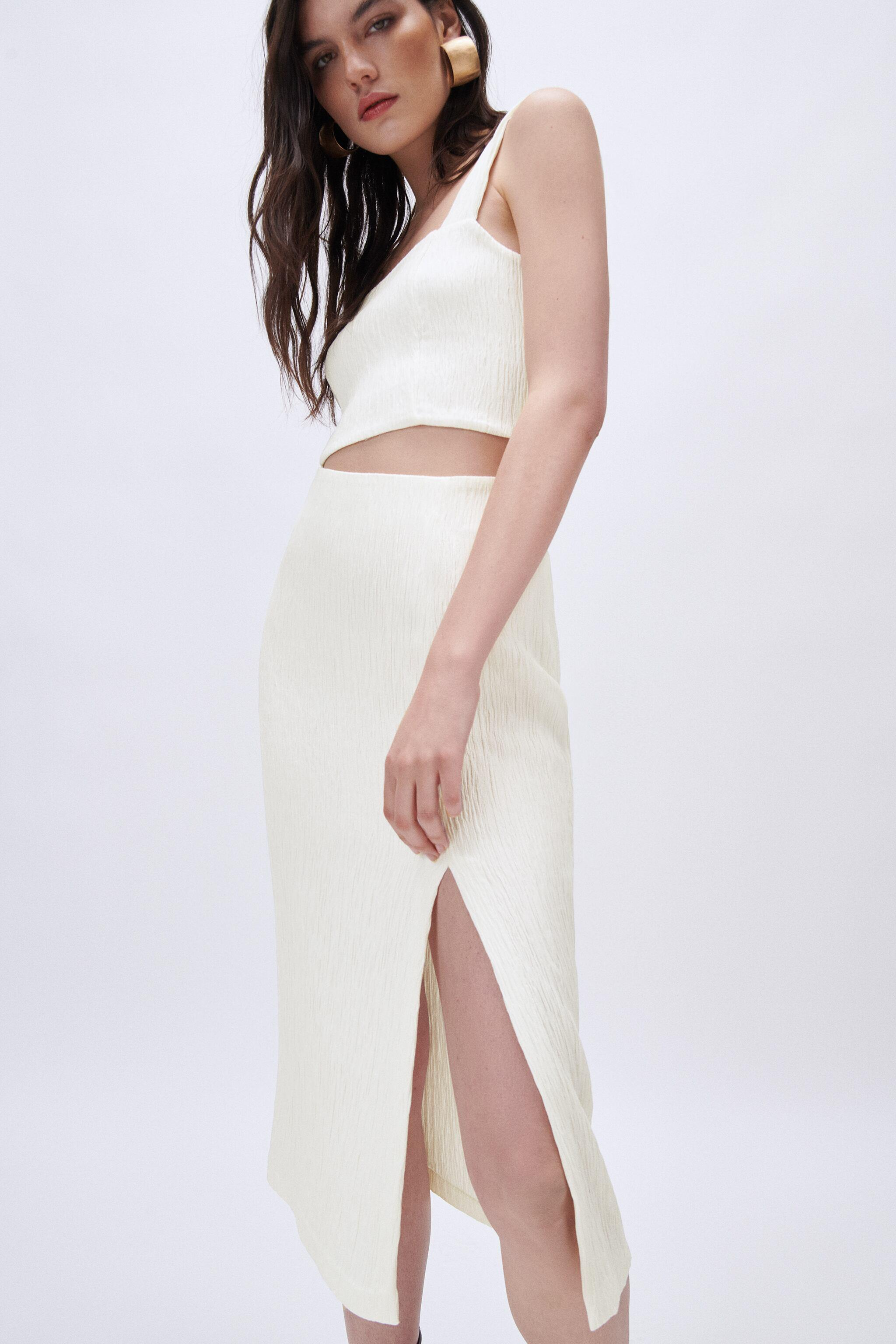 WRINKLED LOOK FITTED SKIRT