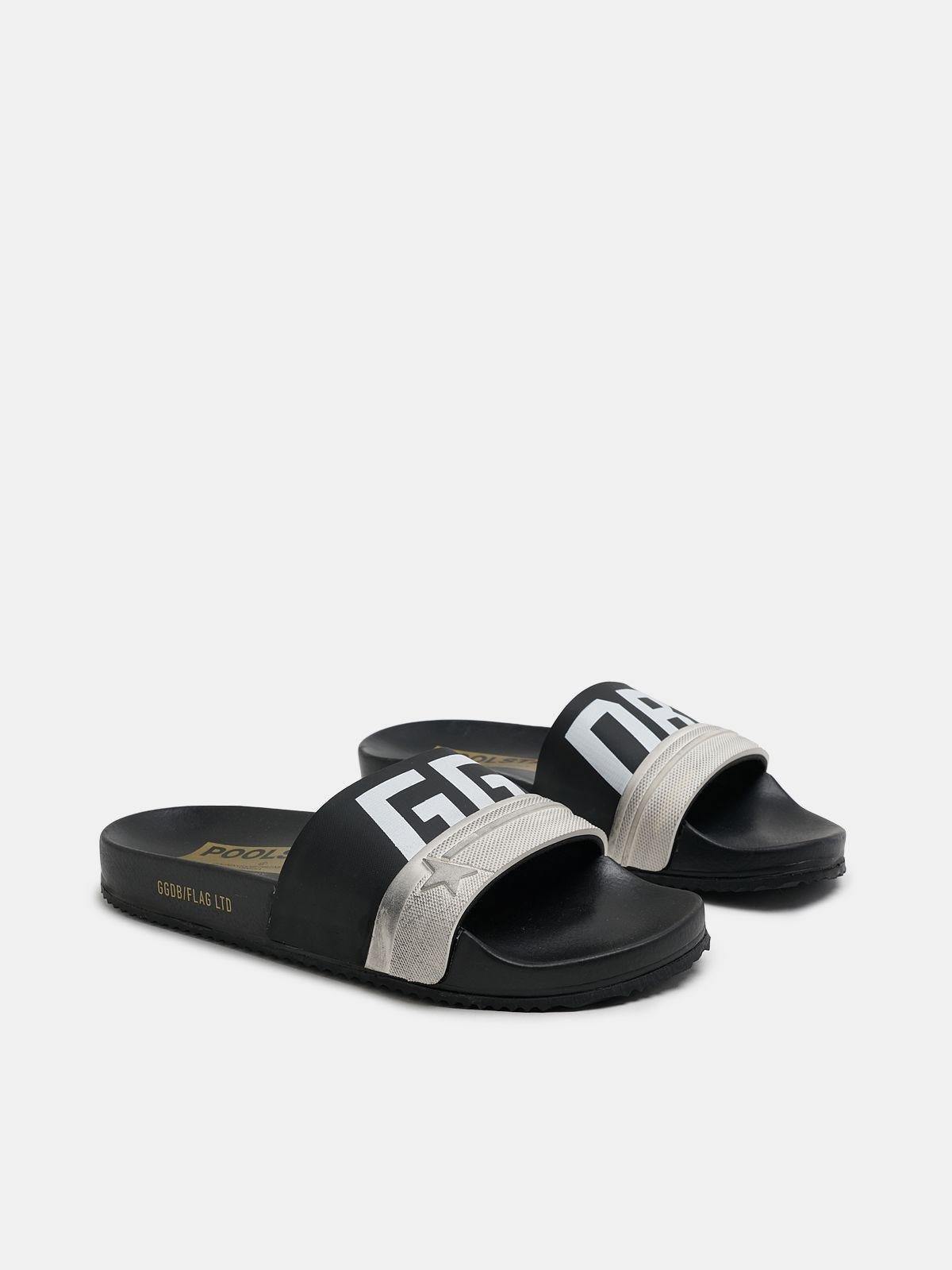 Black Poolstars for women with two-colour strap and logo 2