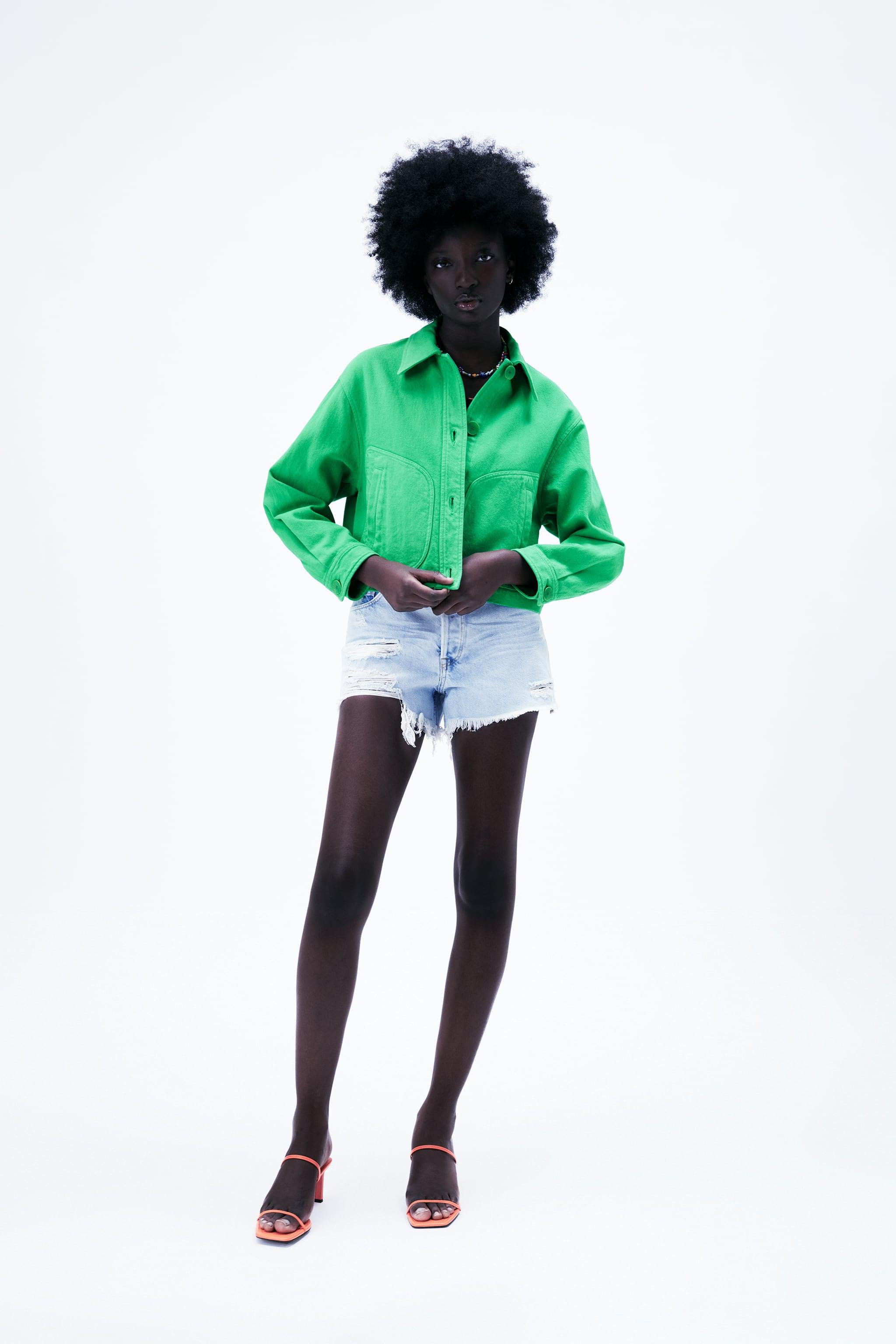 SOLID COLOR CROPPED JACKET