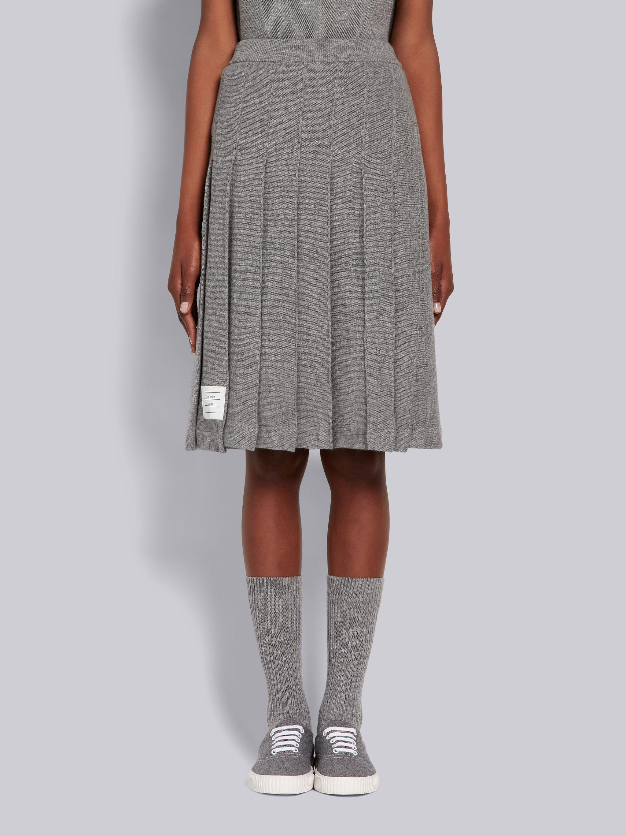 Light Grey Cashmere Pique Pleated Below-the-Knee Skirt
