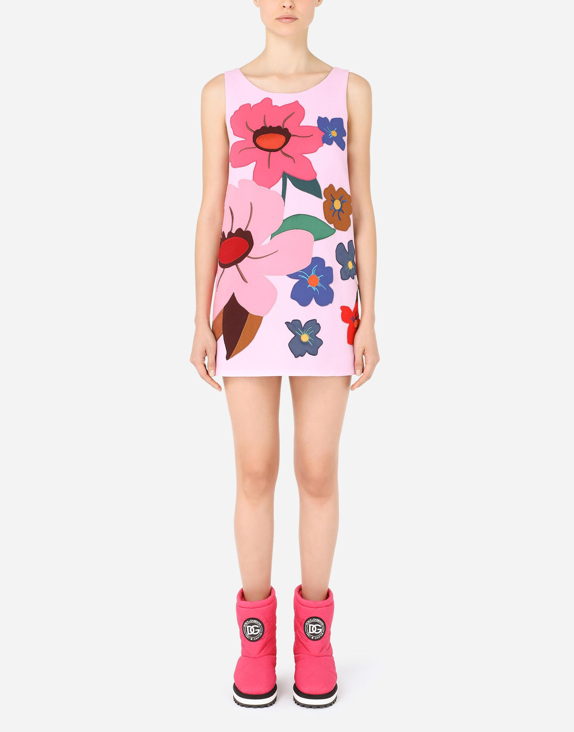 Crepe minidress with floral patches
