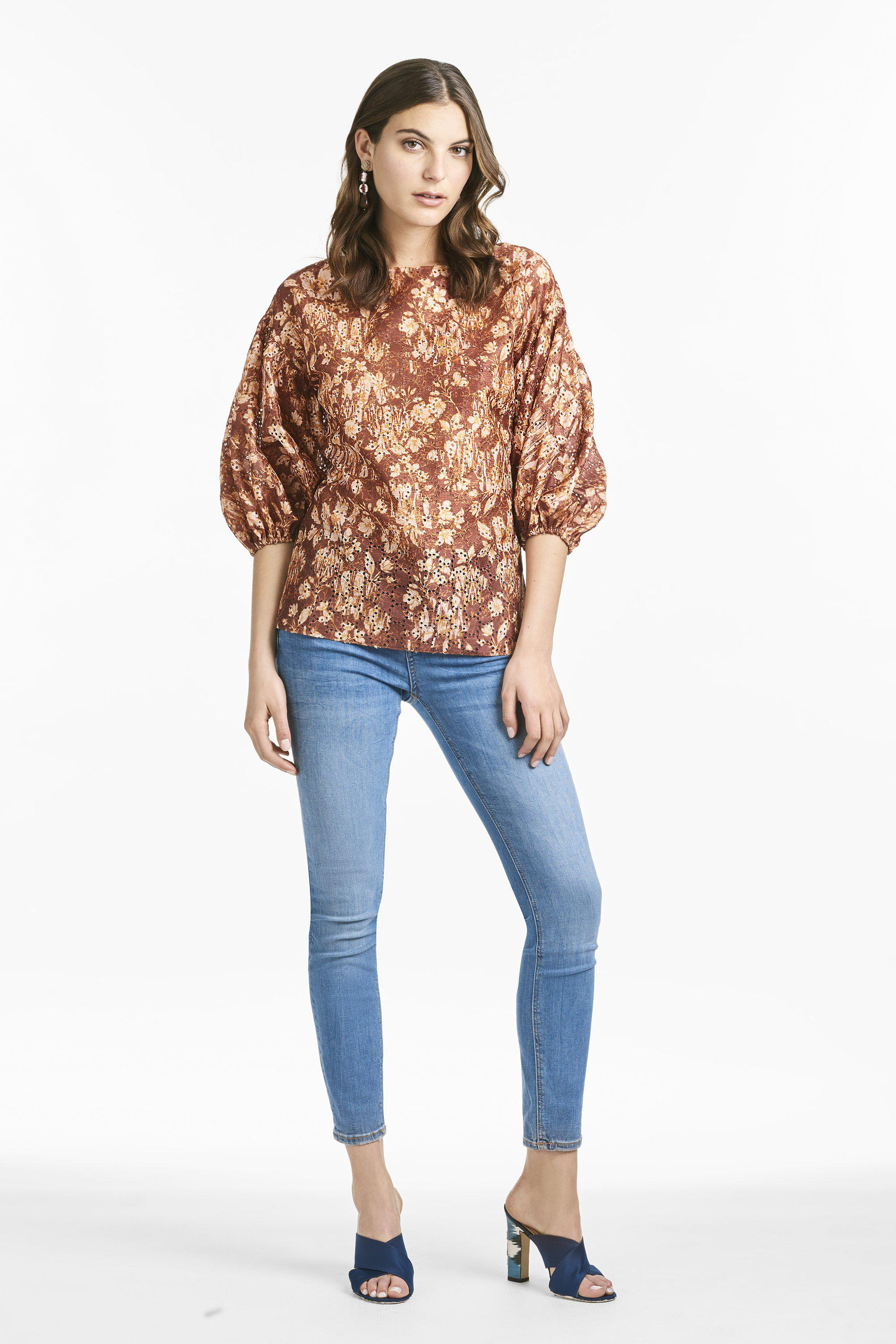 Mallory Blouse - Burgundy Peony Floral