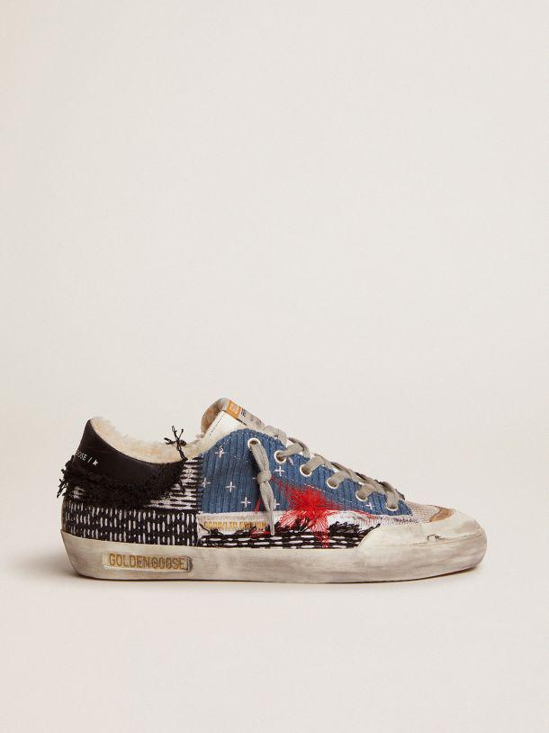 Super-Star Penstar LAB sneakers with canvas and velvet patchwork and shearling lining