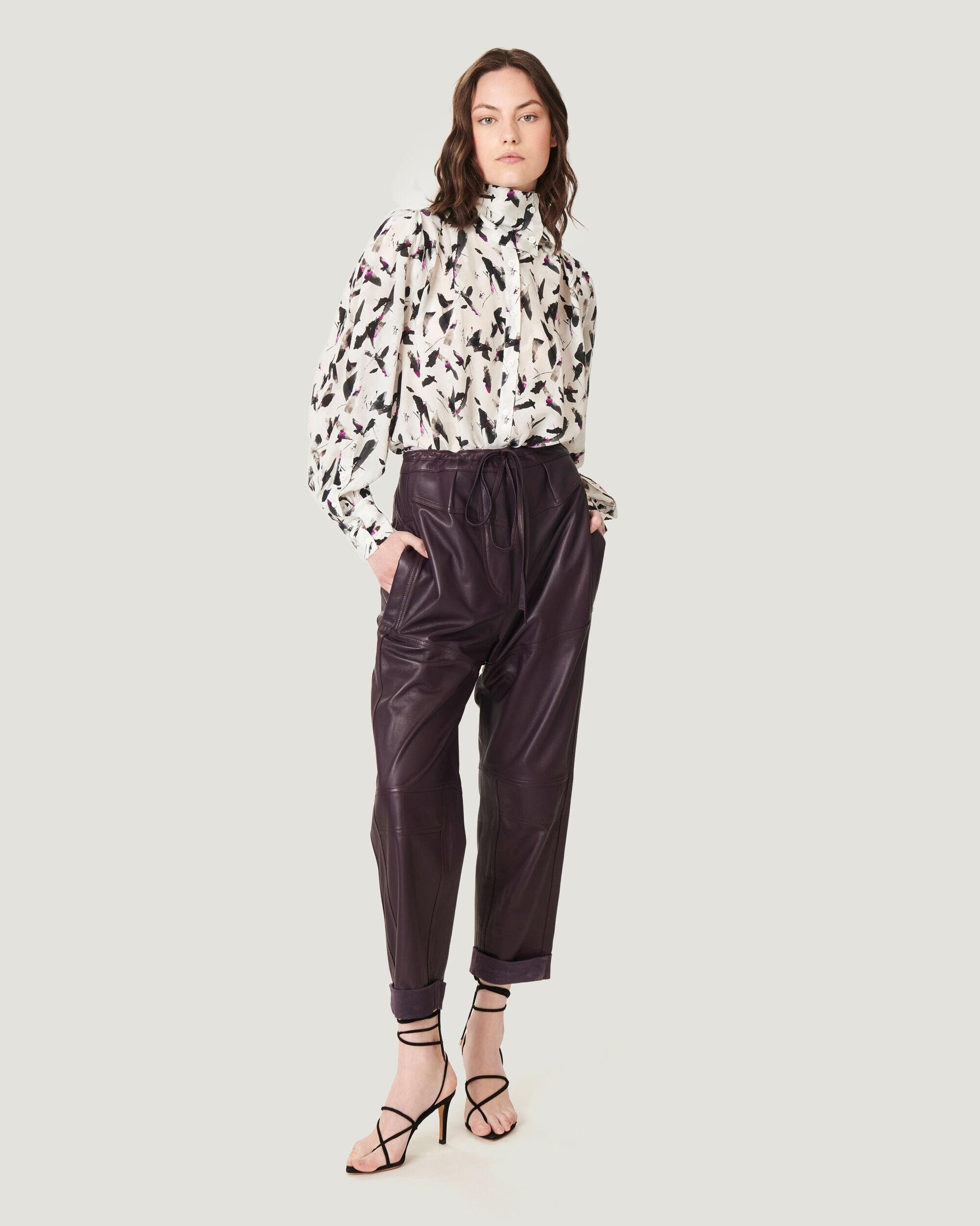 HOSHO RELAXED CROPPED LEATHER TROUSERS