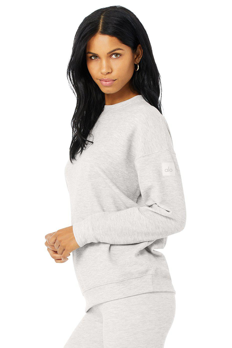 Micro Waffle Relaxation Pullover - Dove Grey Heather 1