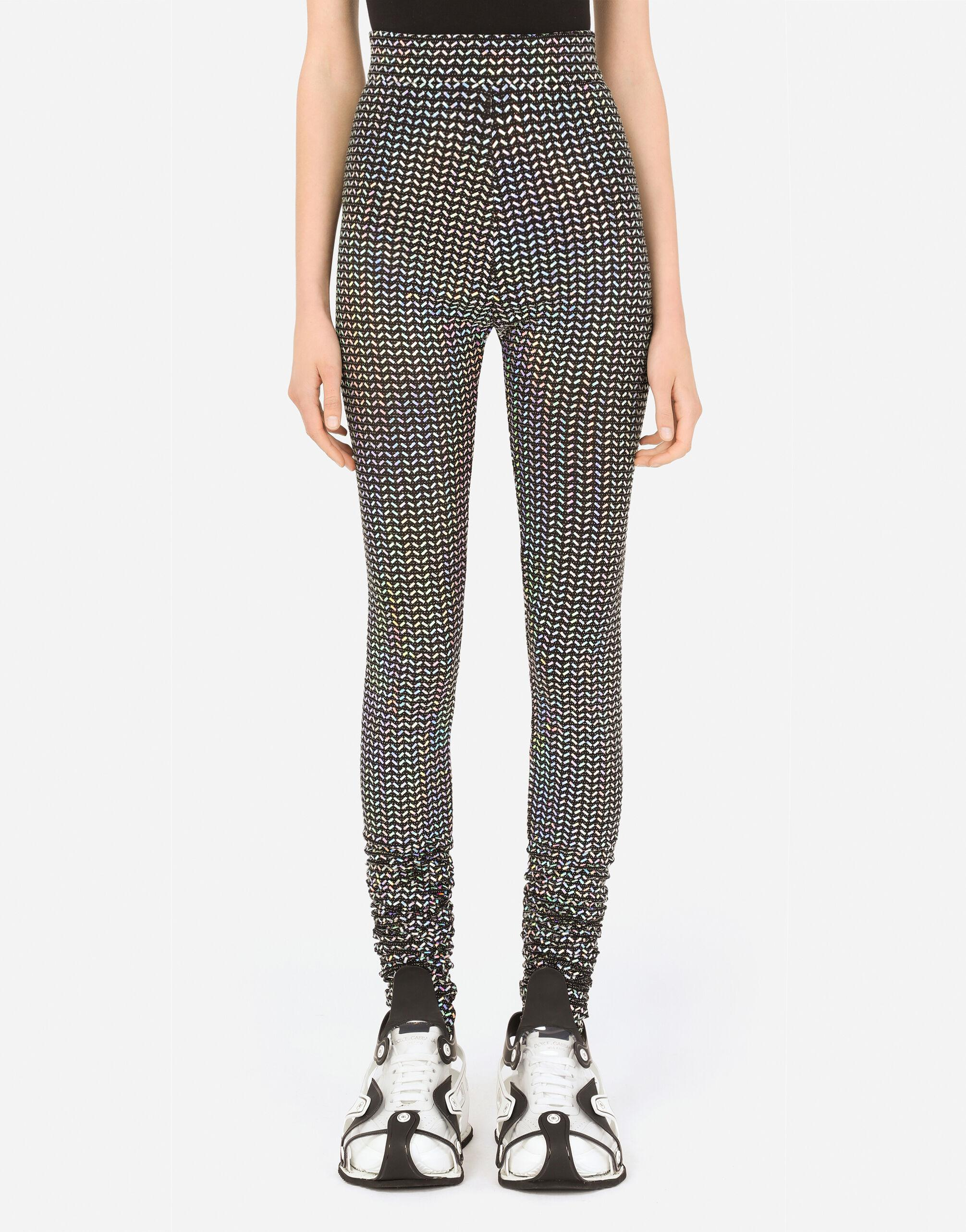 Jersey leggings with holographic sequins