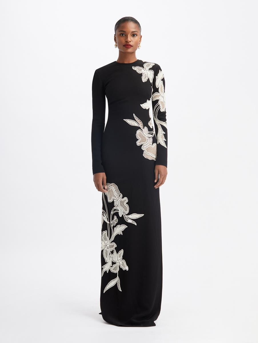 FLORAL EMBROIDERED LONG SLEEVES GOWN