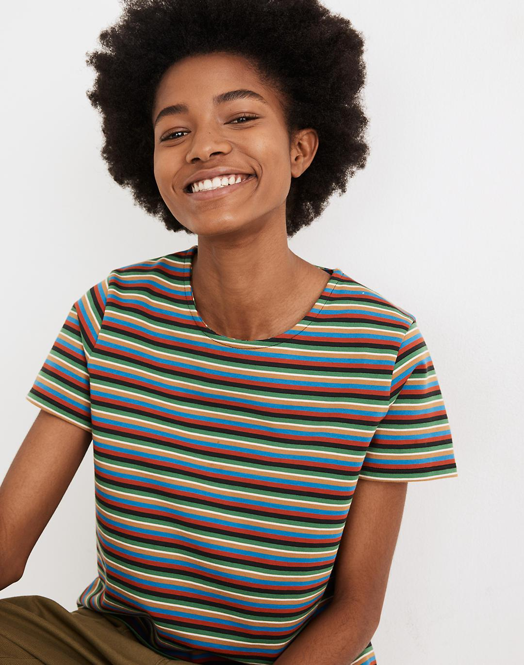 Luxe Boxy-Crop Tee in Mathis Stripe