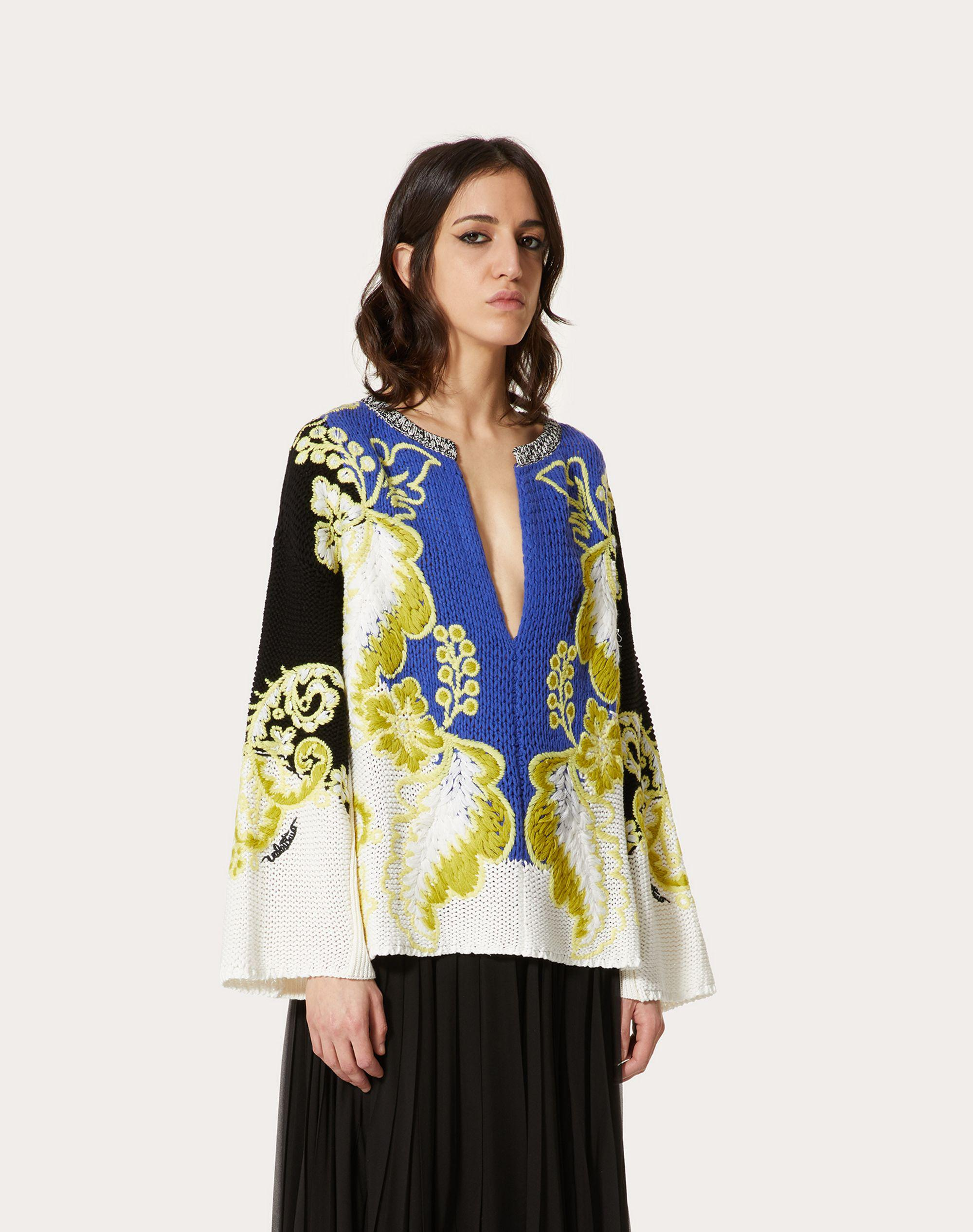 EMBROIDERED WOOL CASHMERE COTTON SWEATER 1