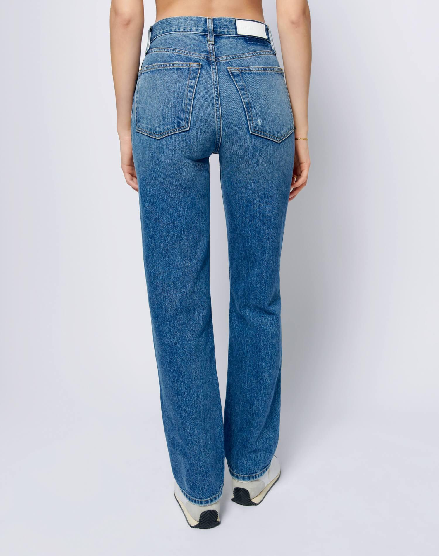 High Rise Loose - Washed Indigo with Rips 3