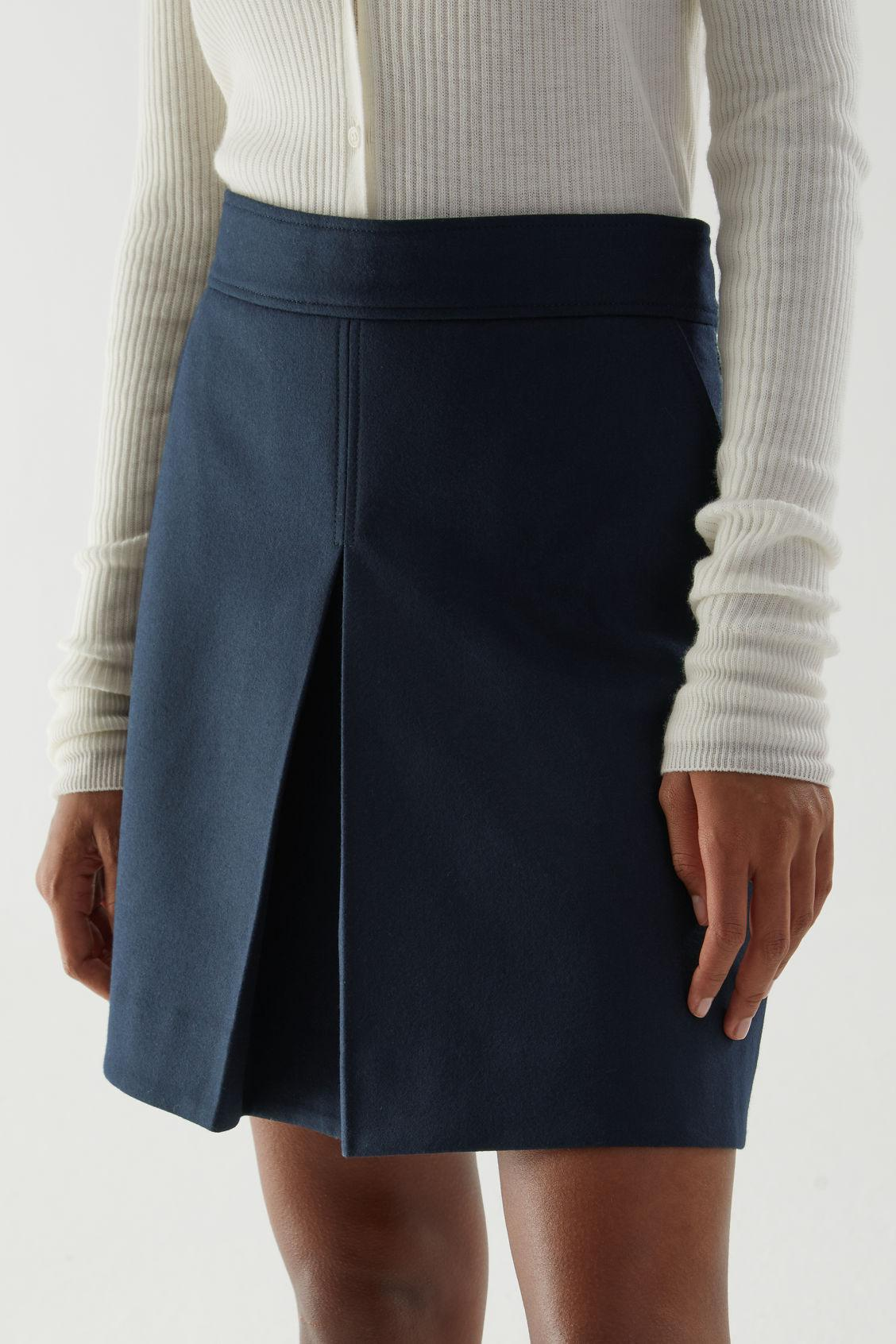 PLEATED A-LINE WOOL-CASHMERE MINI SKIRT 1
