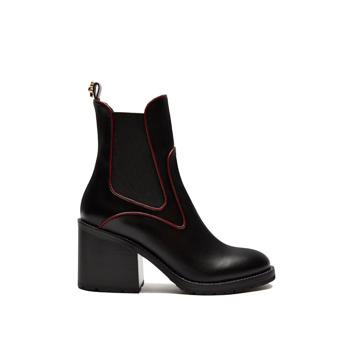Madison Boot 65 - Black With Bordeaux Piping