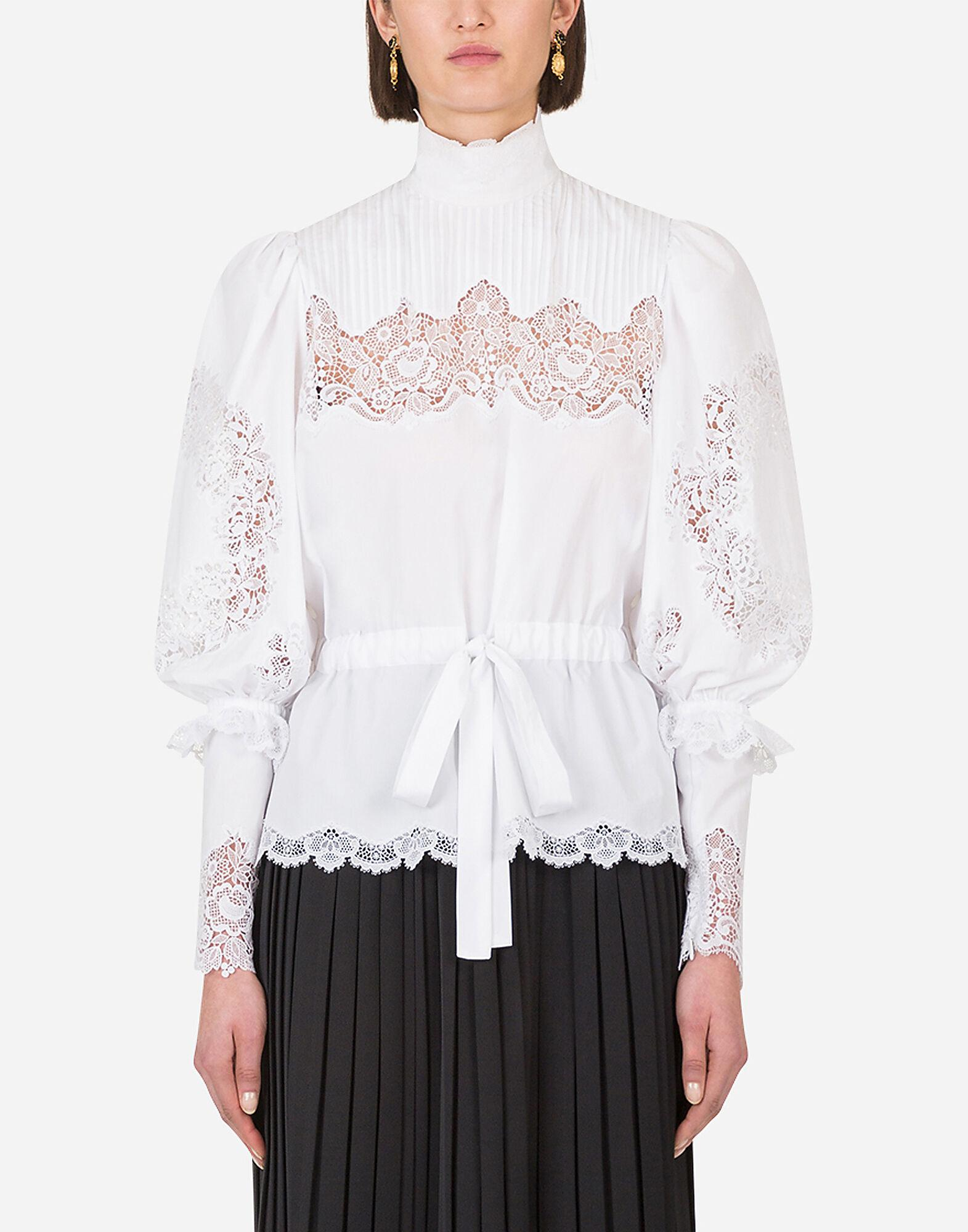 Poplin blouse with lace intarsia