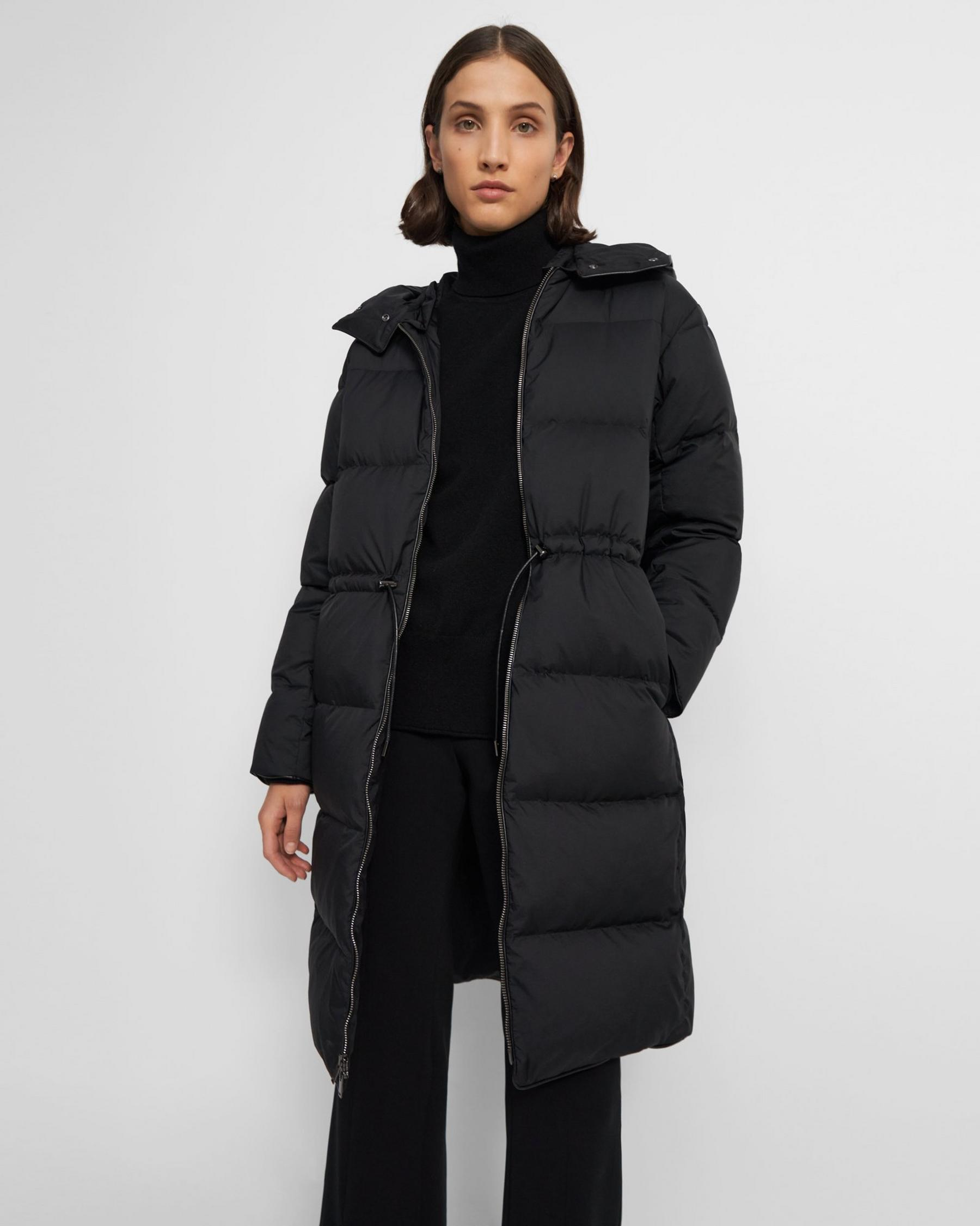 Piped Puffer Coat in Water-Resistant Nylon