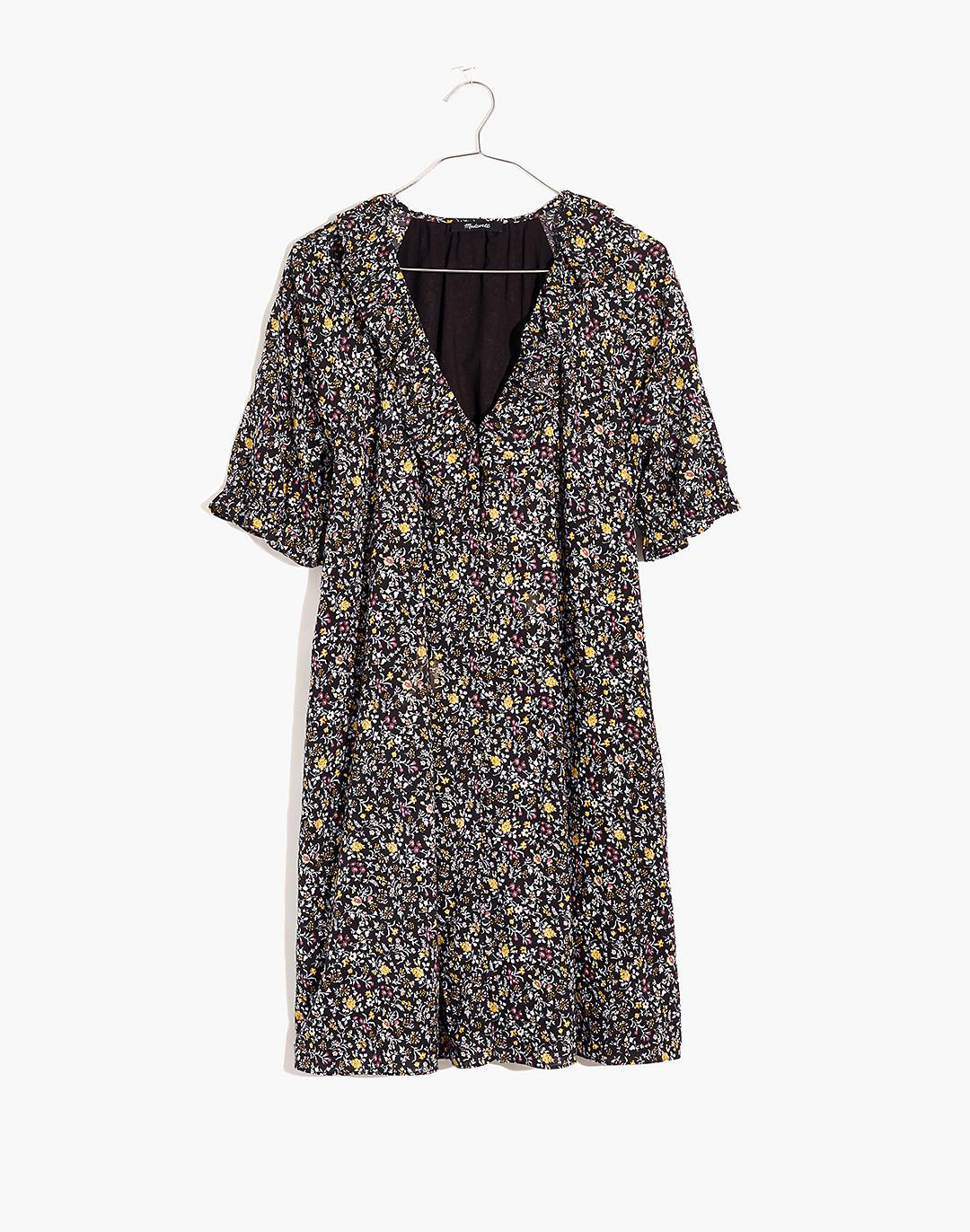 Ruffle Button-Front Trapeze Dress in Folkmagic Floral 5