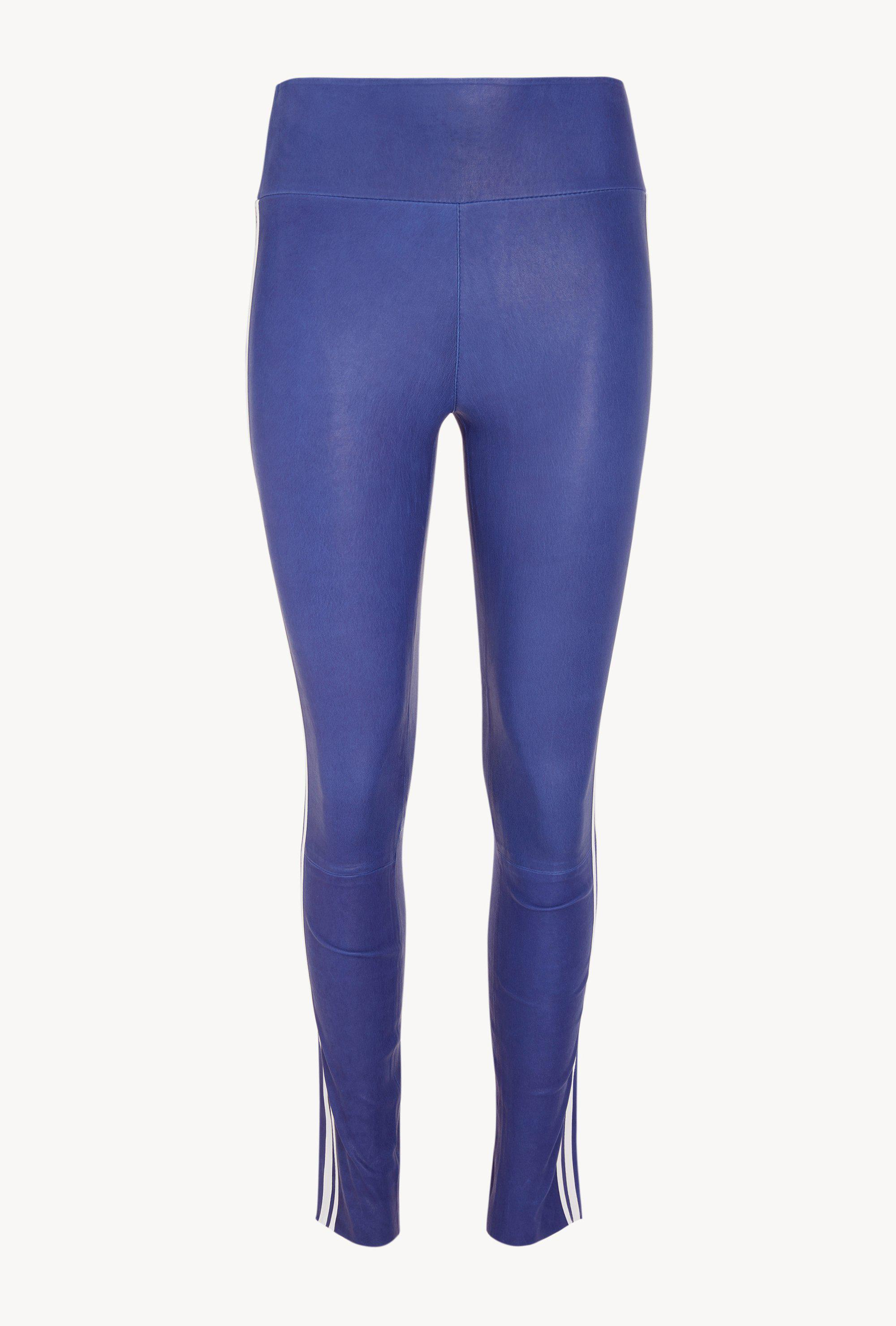 Electric Blue/White Athletic Ankle Leather Legging