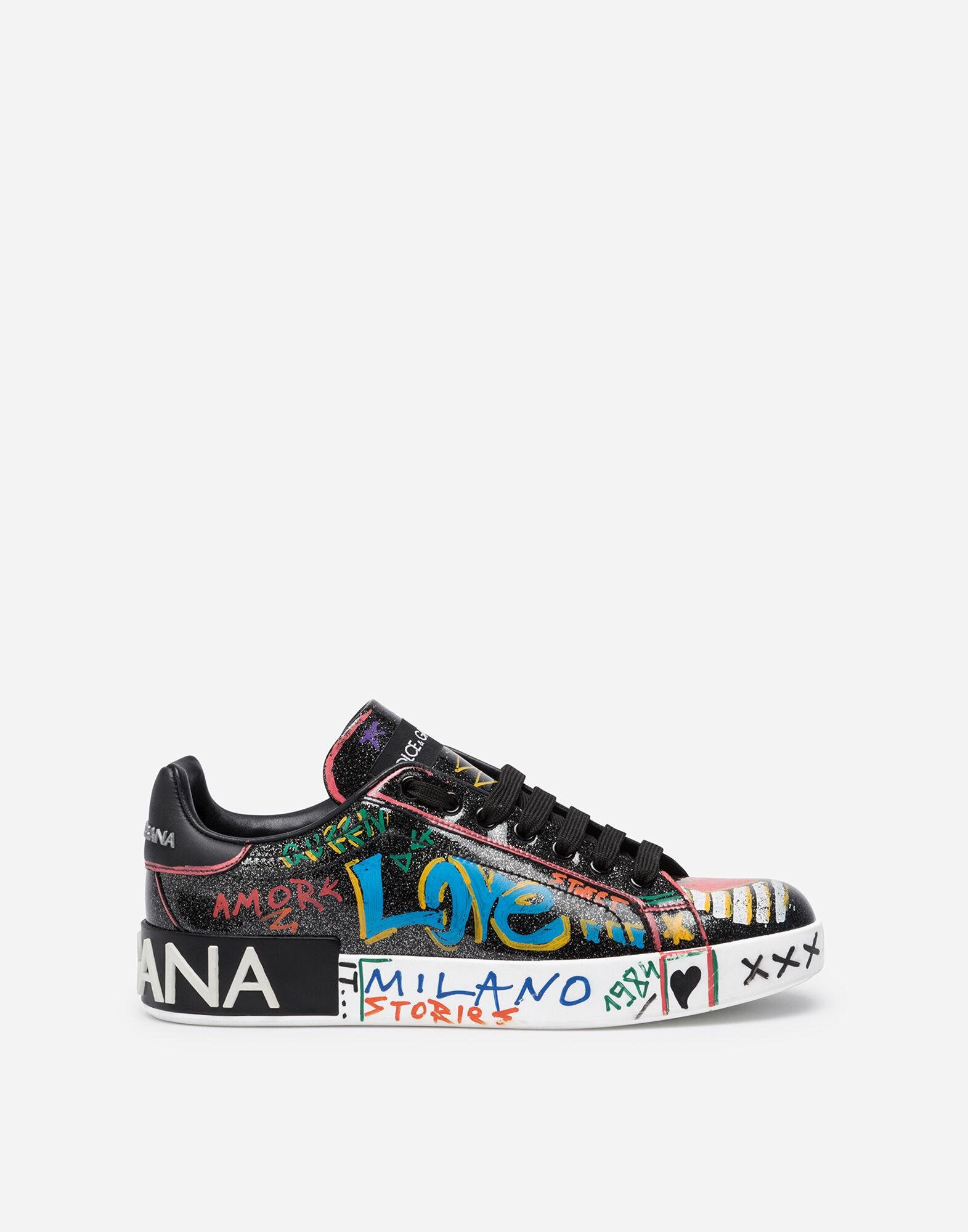 Portofino sneakers in patent leather with printed writing