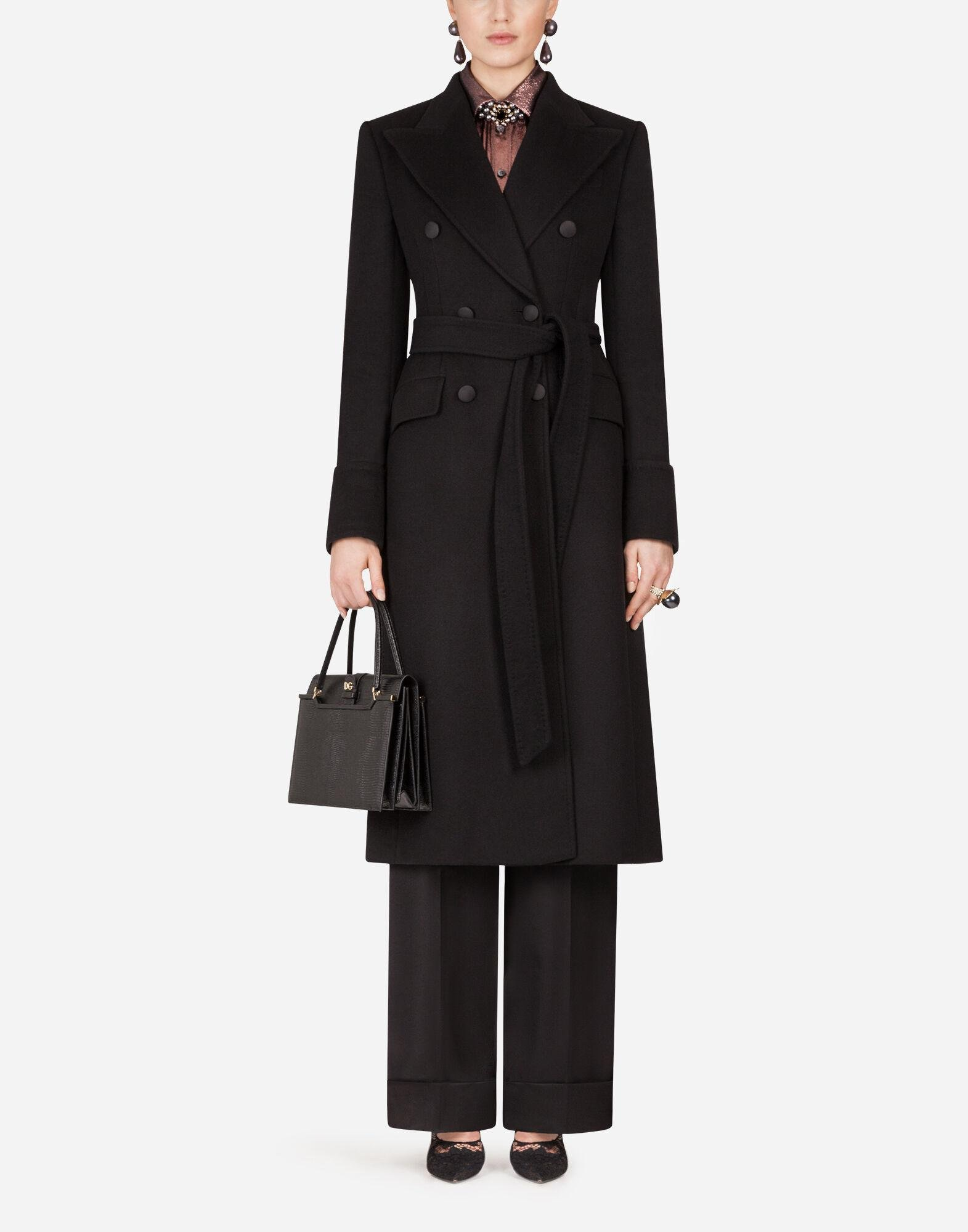 Double-breasted woolen cloth belted coat
