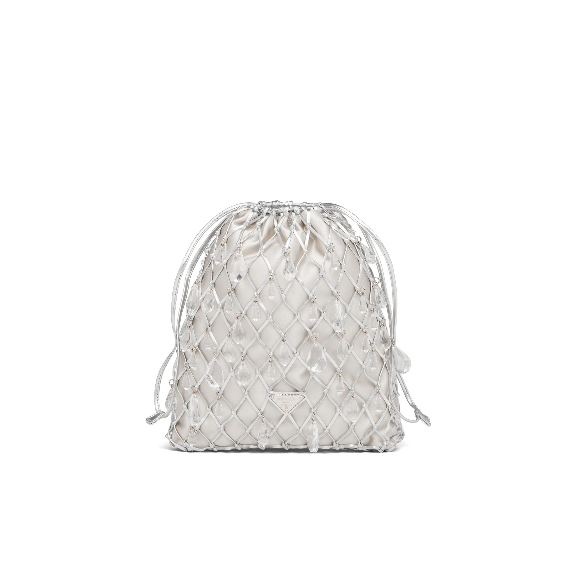 Leather Mesh And Satin Clutch Women Silver