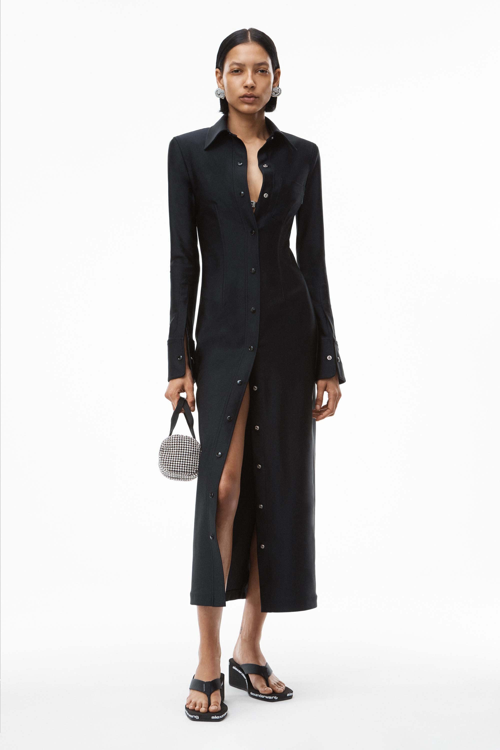 fitted shirt dress in active stretch