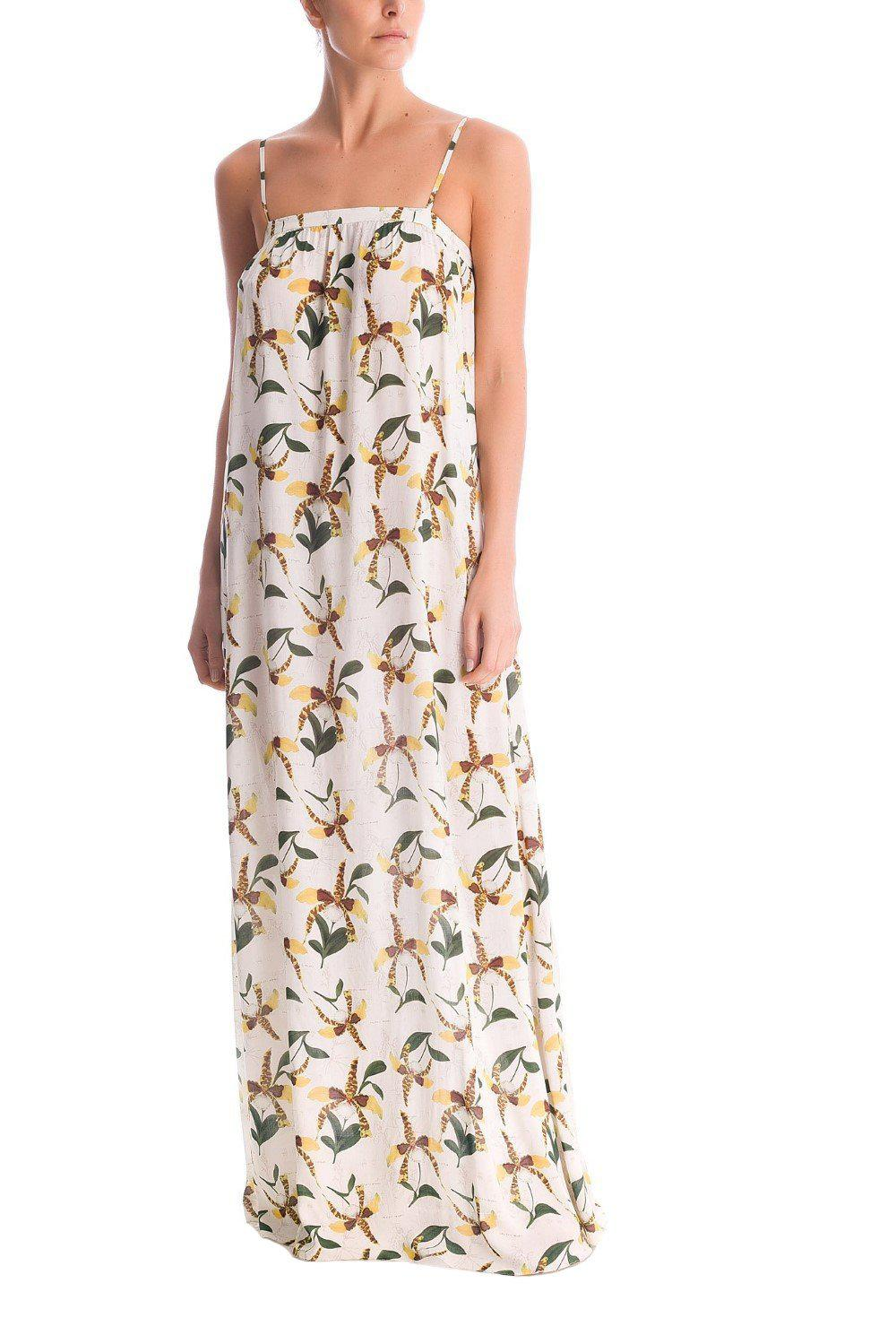 Leopard Orchid Long Dress With Straps