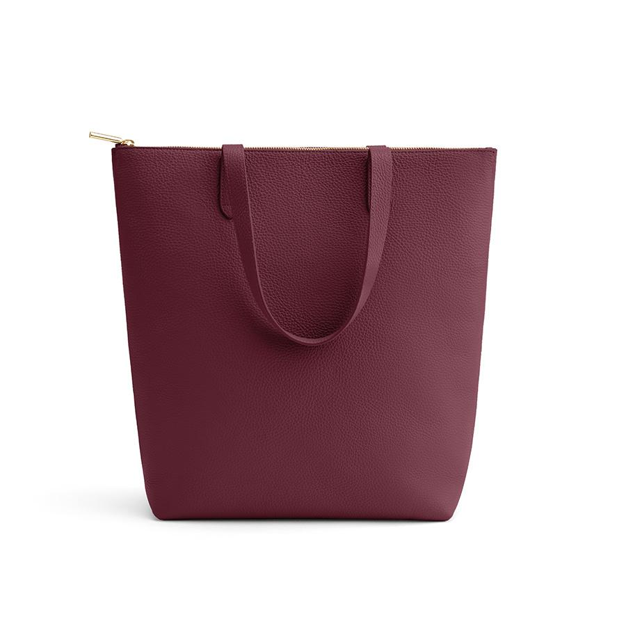 Women's Tall Structured Leather Zipper Tote Bag in Merlot   Pebbled Leather by Cuyana