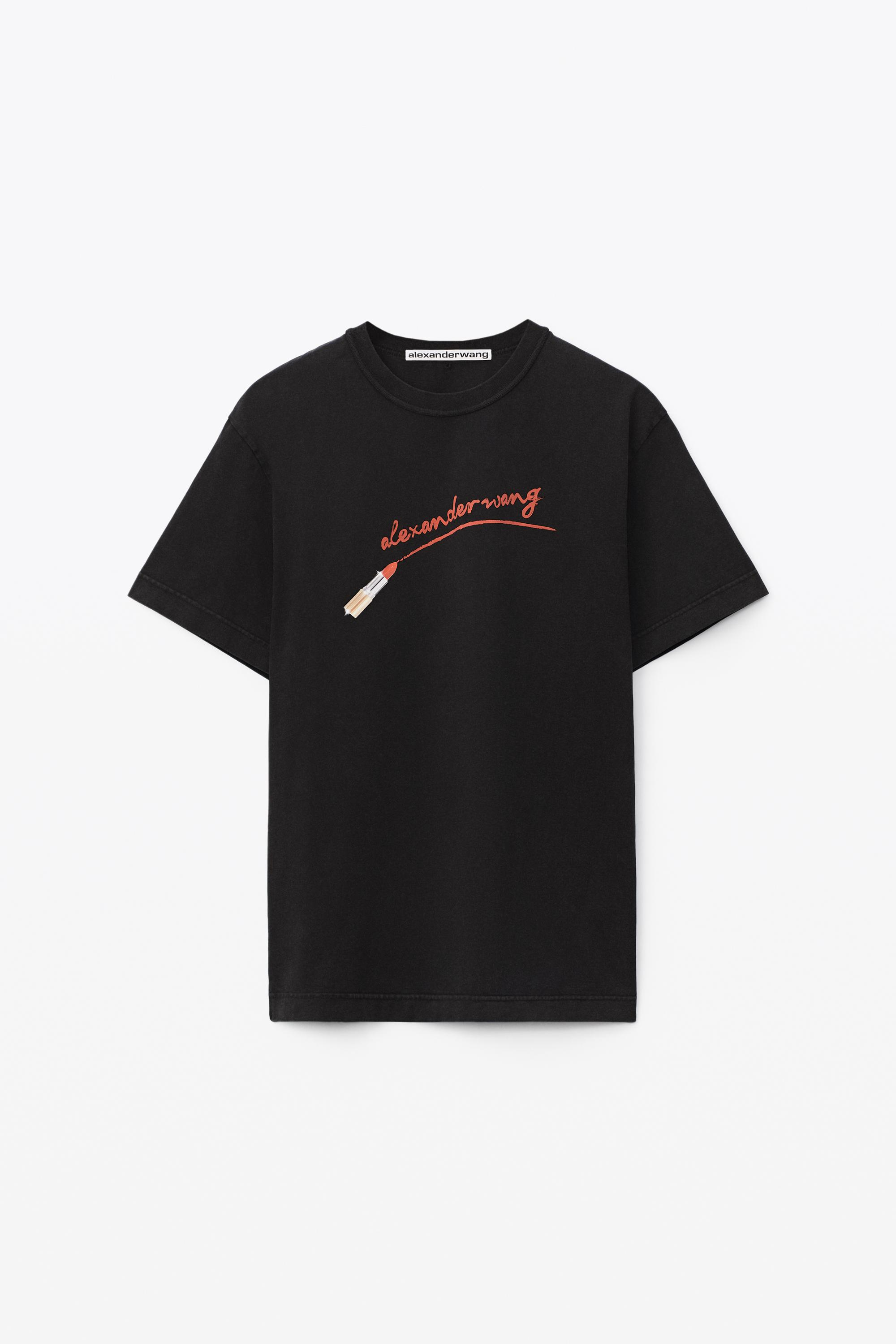 short-sleeve lipstick graphic tee in compact jersey 1