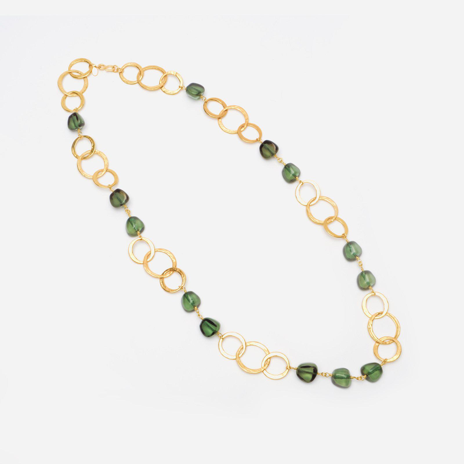 Emerald Gold Disc Necklace