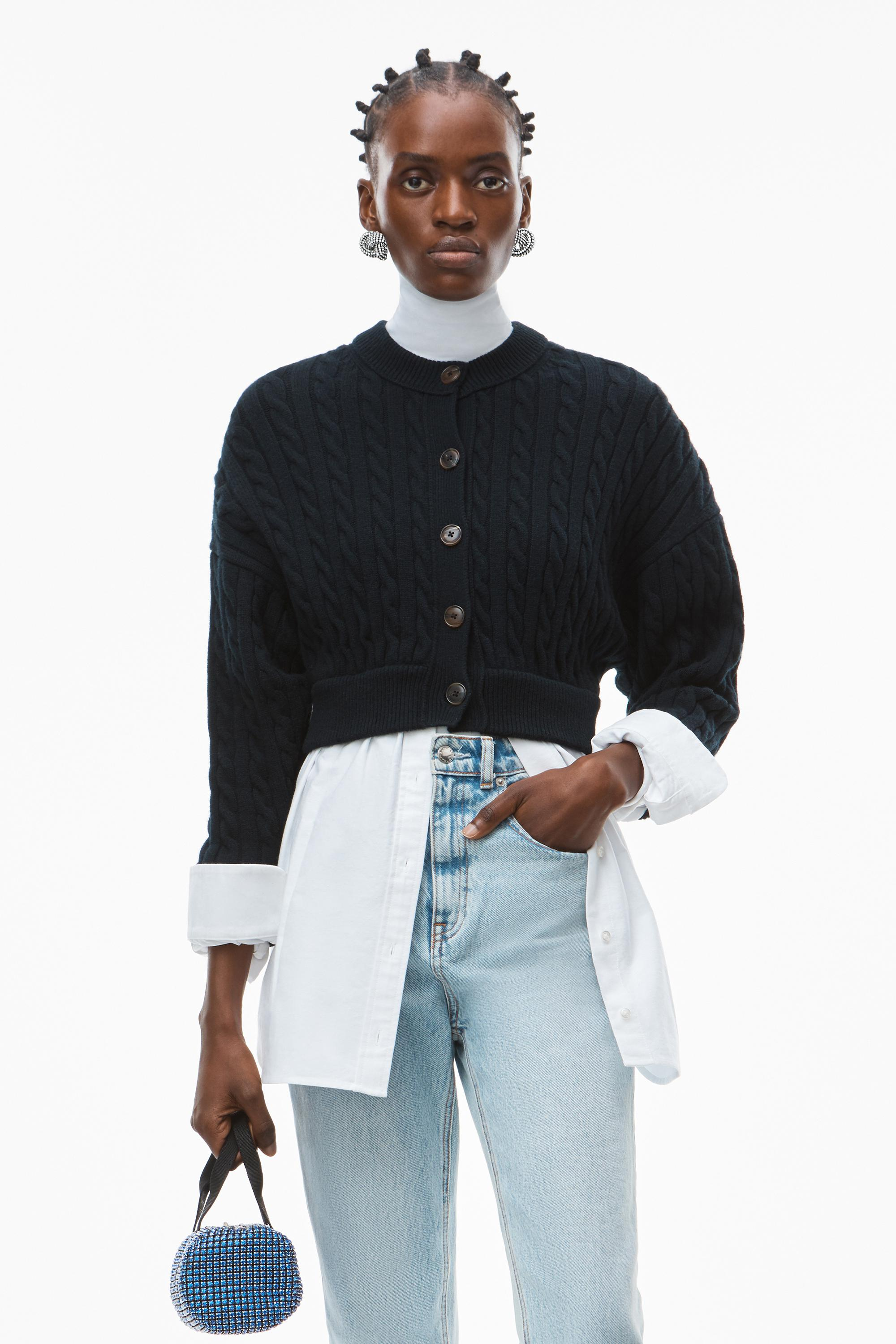 hybrid top in cotton oxford and wool cable