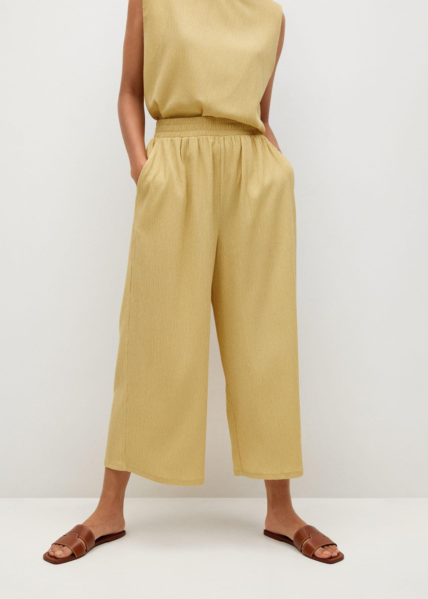 Textured culotte pants