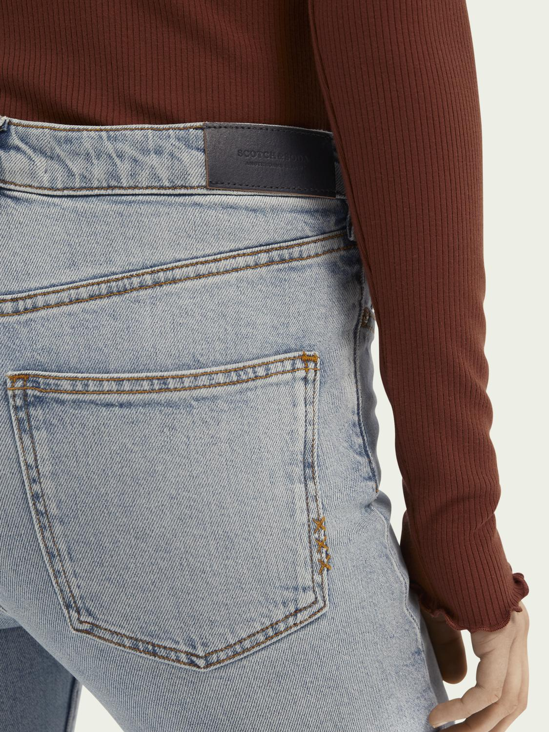 High-rise cropped flare denim trousers 4