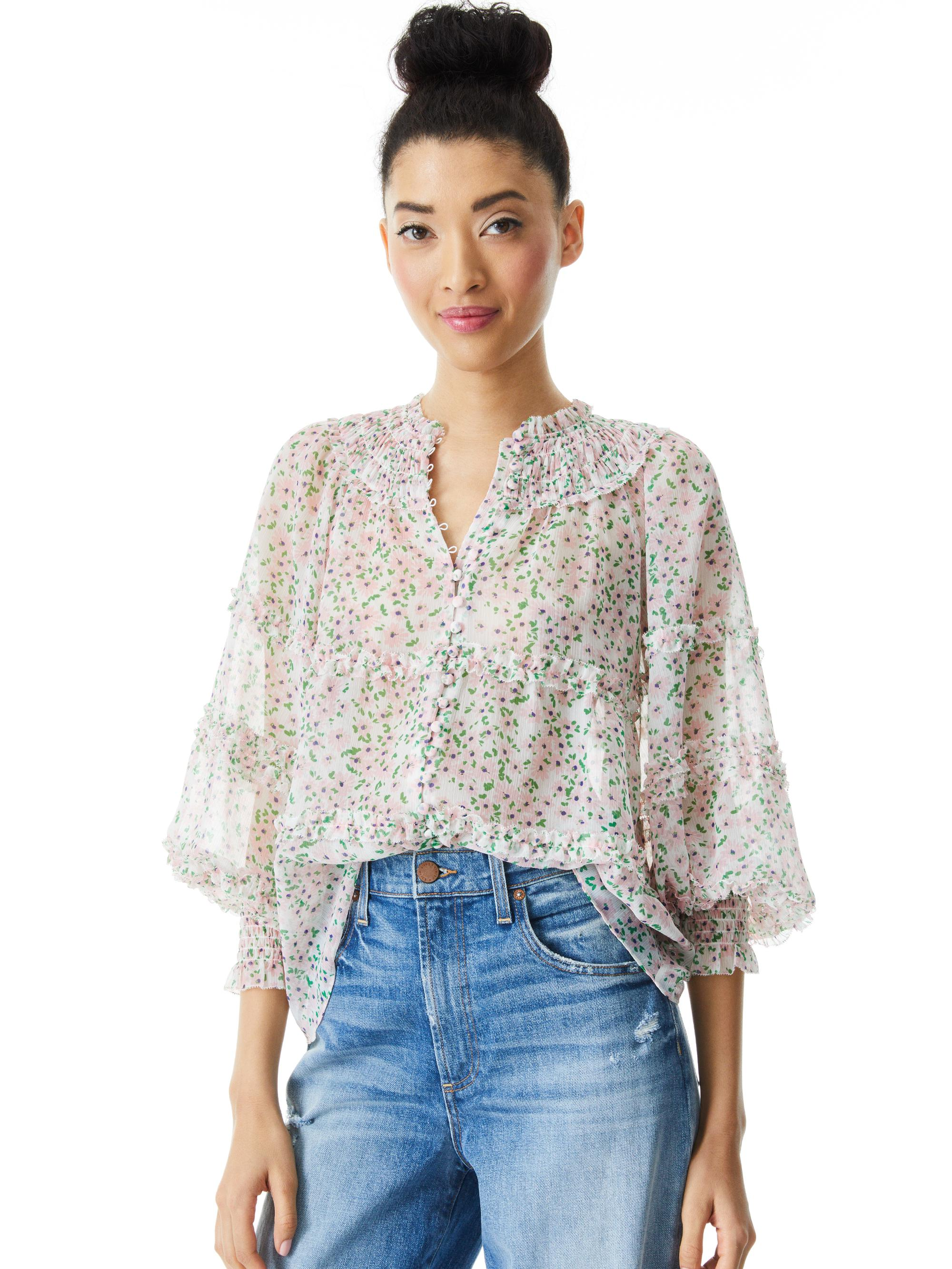MARGERY BUTTON FRONT FLORAL BLOUSE