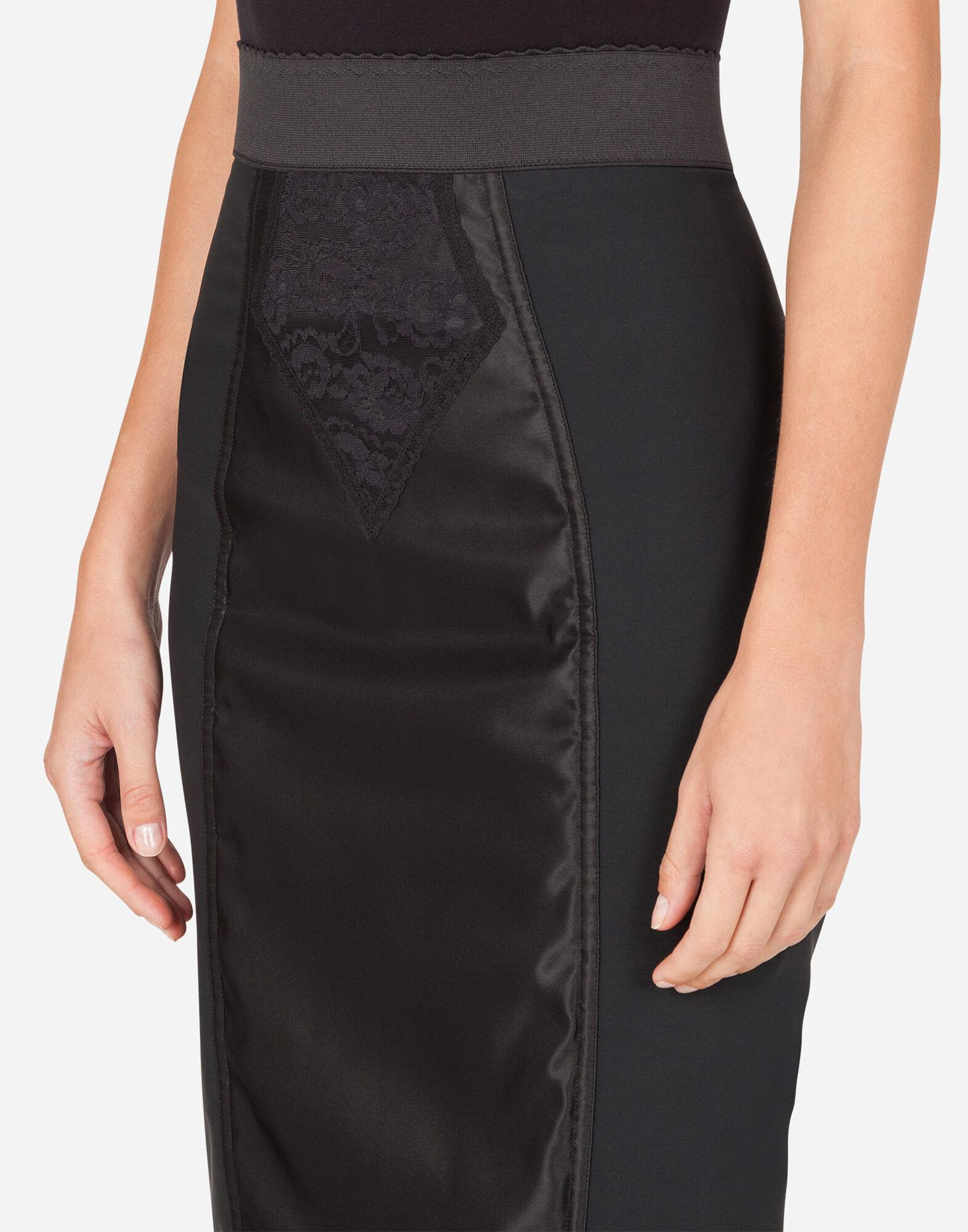 Midi skirt in powernet and satin 4
