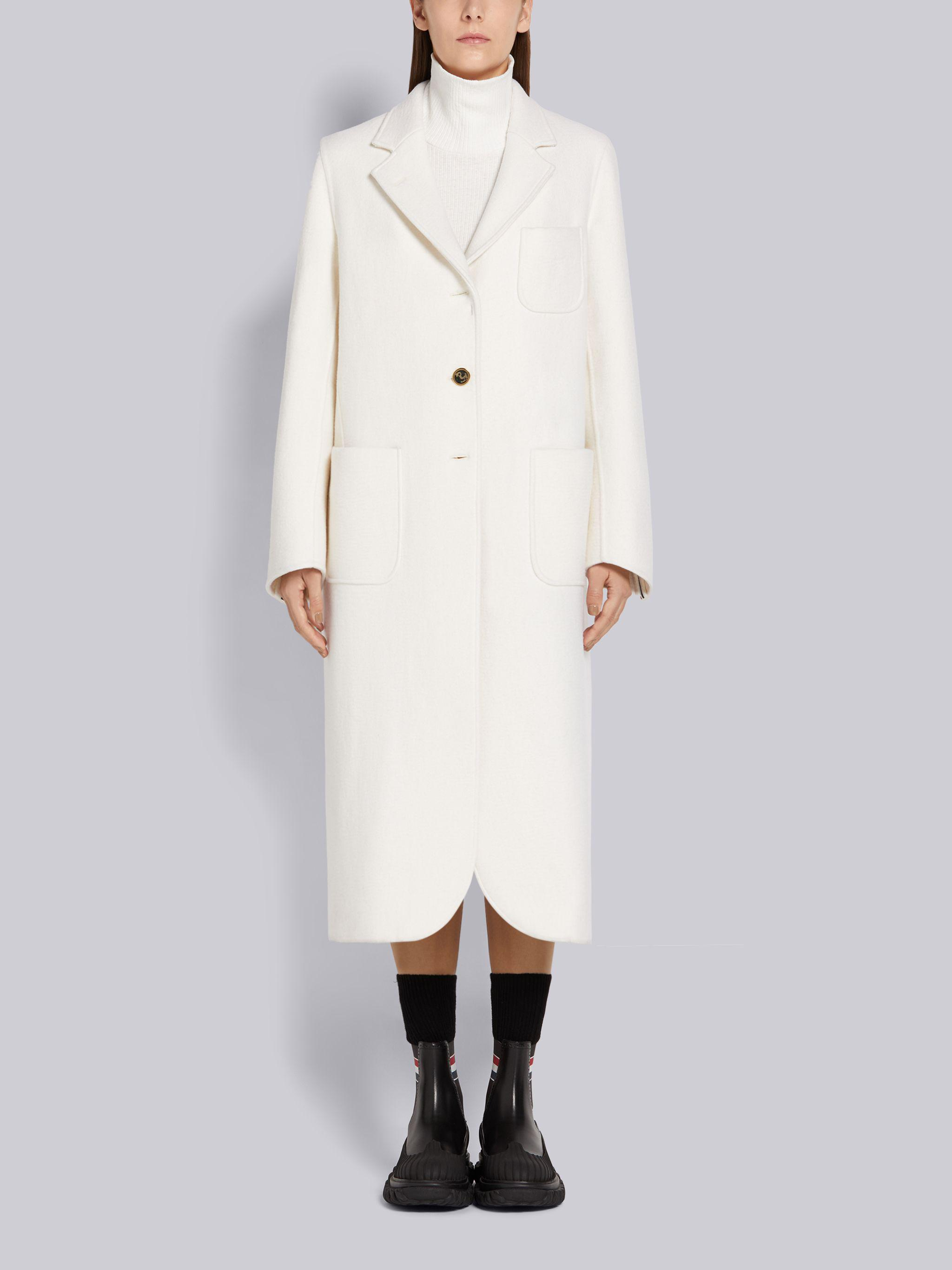 White Felted Wool Cashmere Engineered Stripe Unconstructed Elongated Sack Overcoat