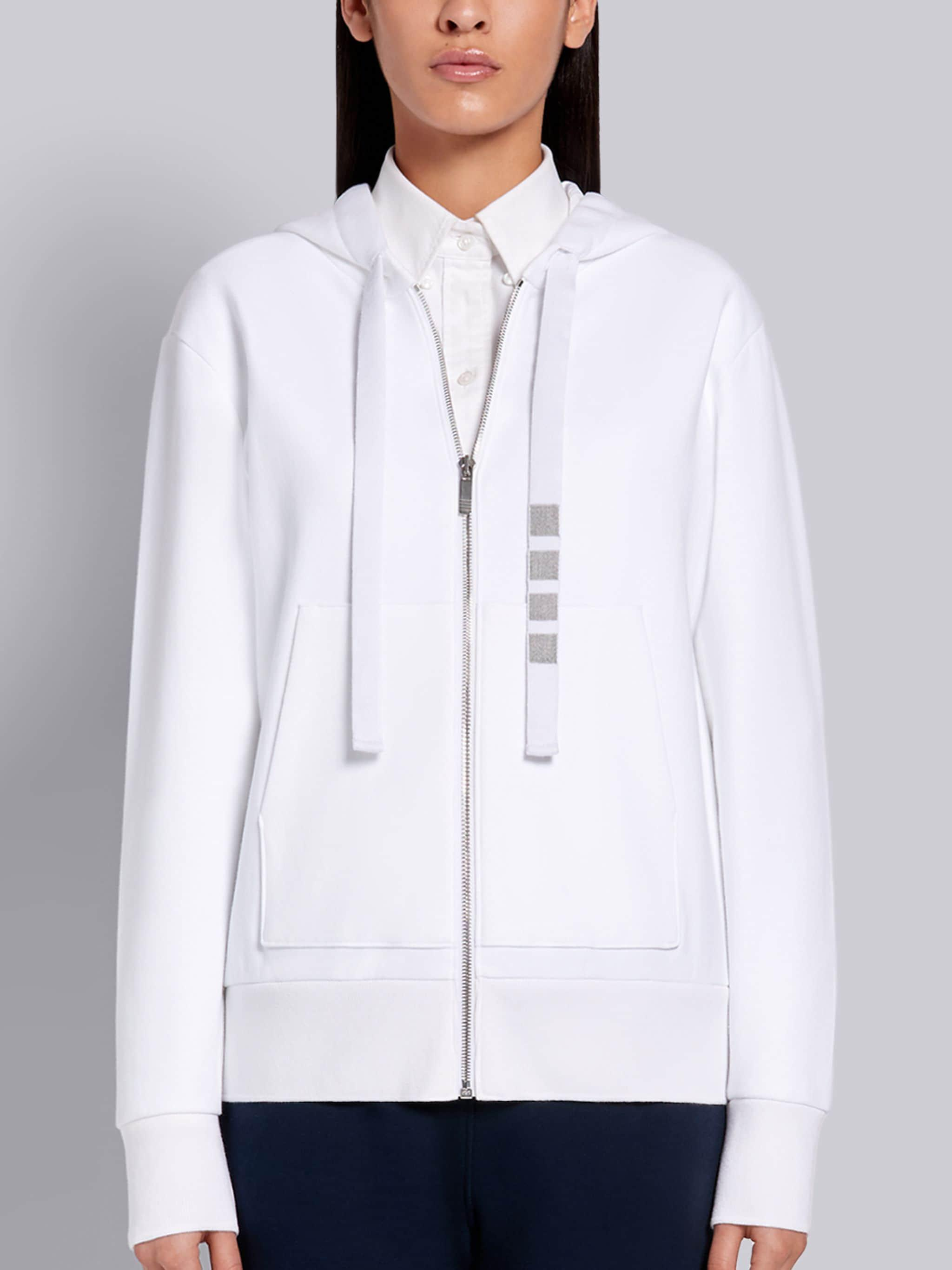 White Compact Double Knit Cotton Zip-up 4-Bar Hoodie