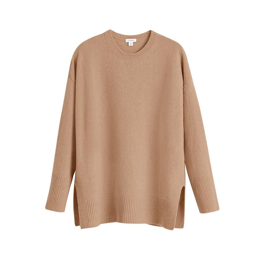 Women's Recycled Crewneck Sweater in Camel | Size: