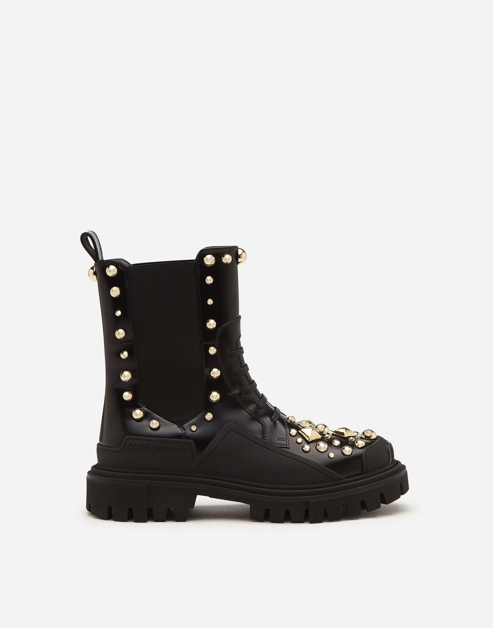 Polished calfskin combat boots with studded embroidery
