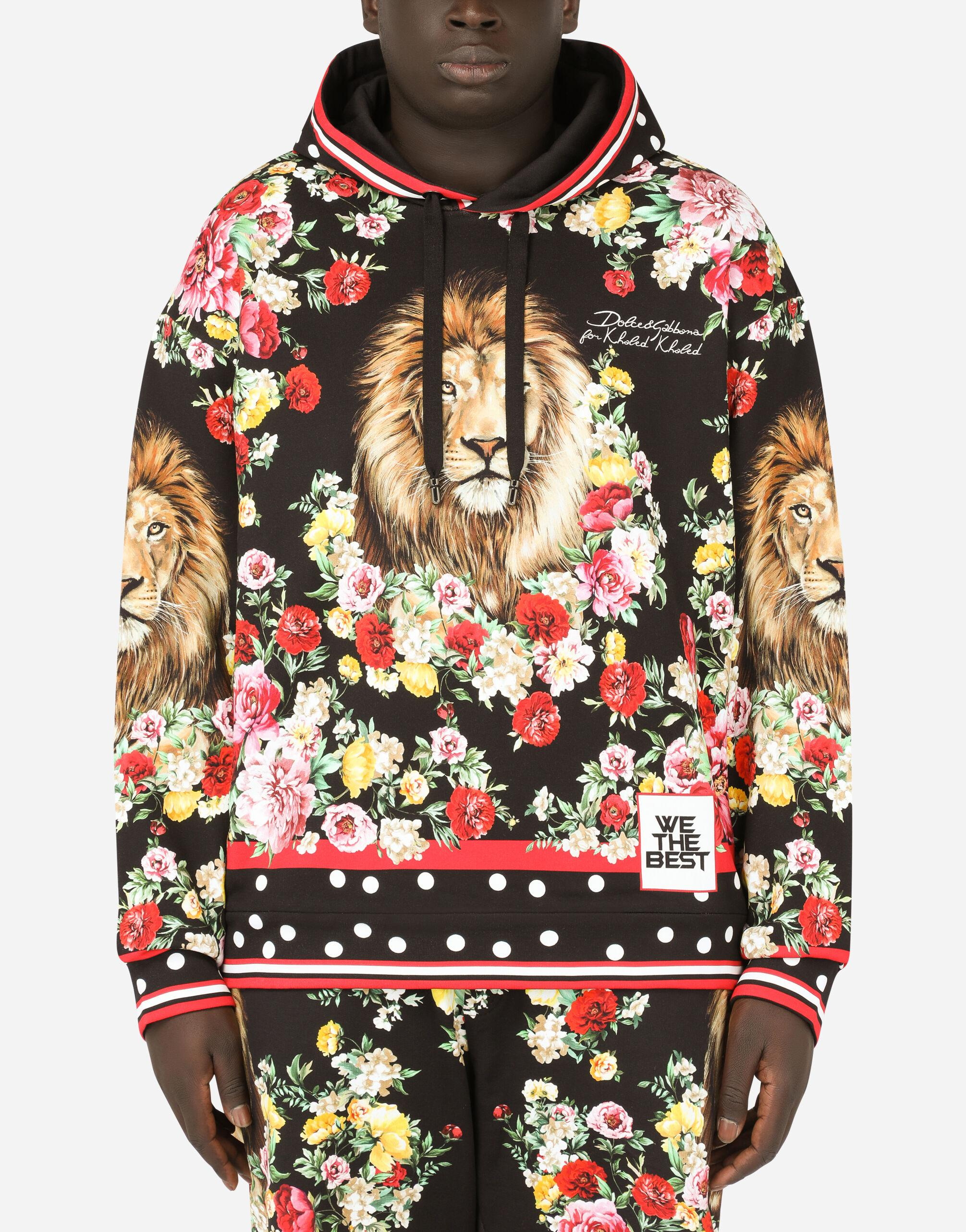 Hoodie with lion mix print 1