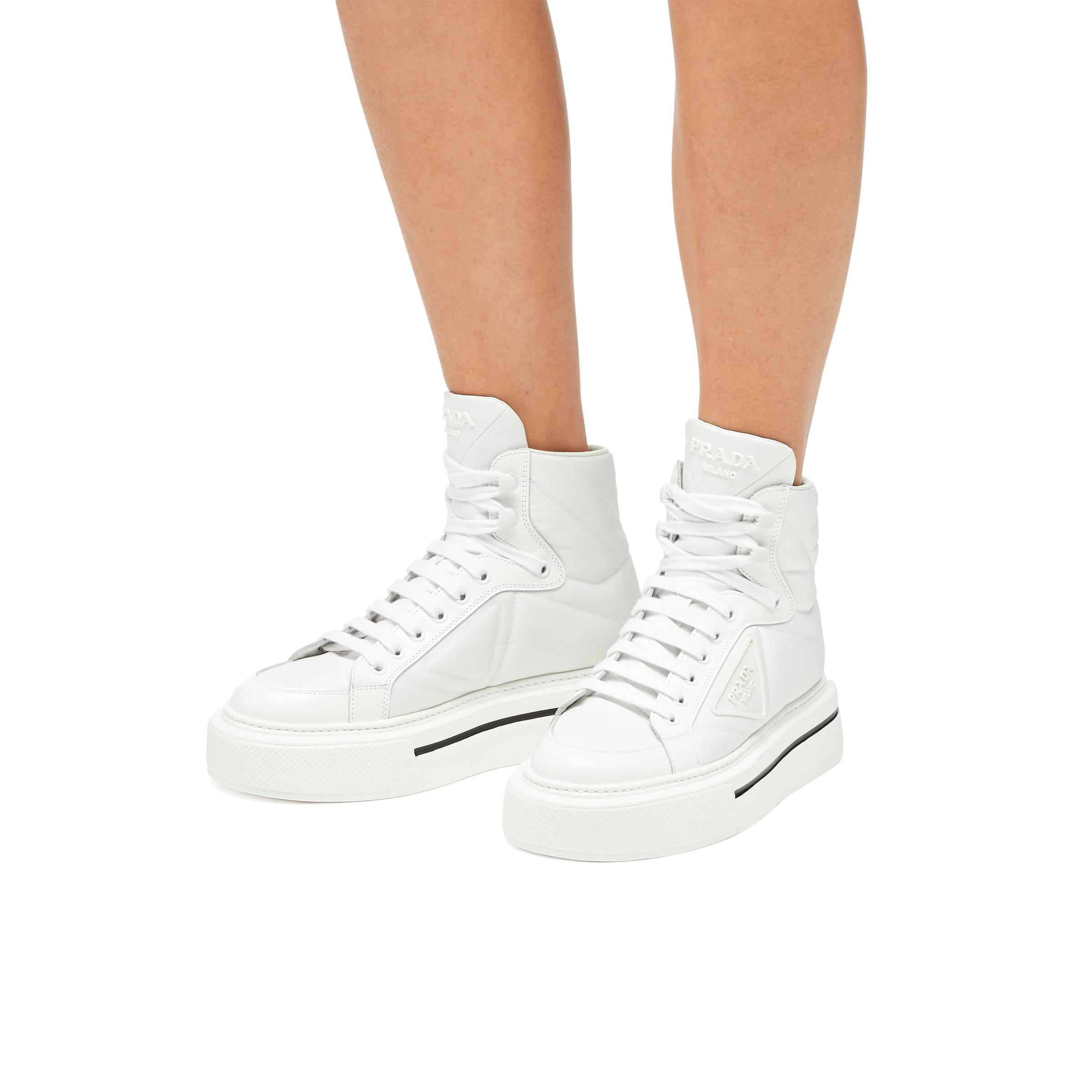 Macro Re-nylon And Brushed Leather High-top Sneakers Women White 4