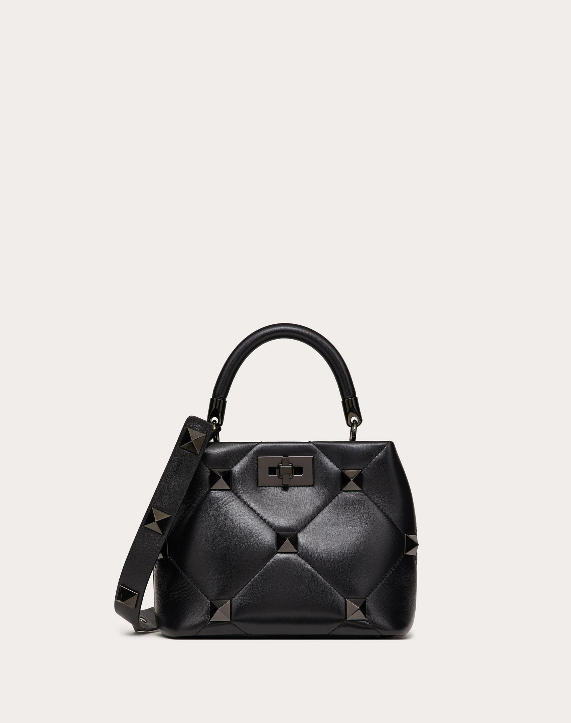 Small Roman Stud The Handle Bag in Nappa with Tonal Studs