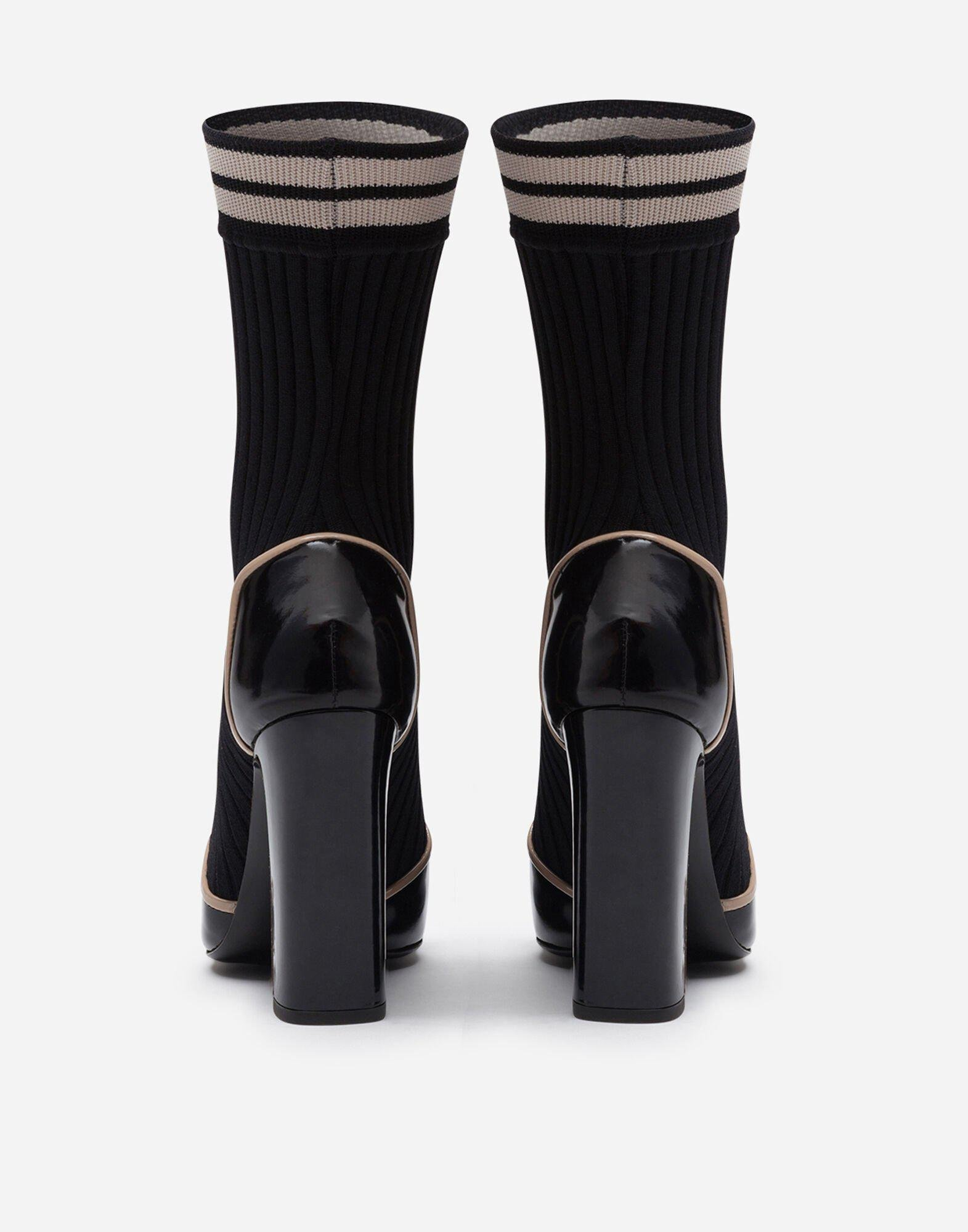 Polished calfskin ankle boots with knit sock detail 2
