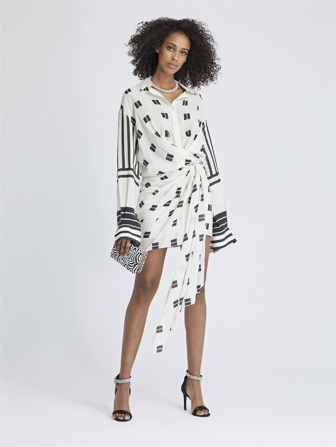 GEO SQUARES AND MIXED STRIPES SHANTUNG VOILE WRAP SHIRTDRESS
