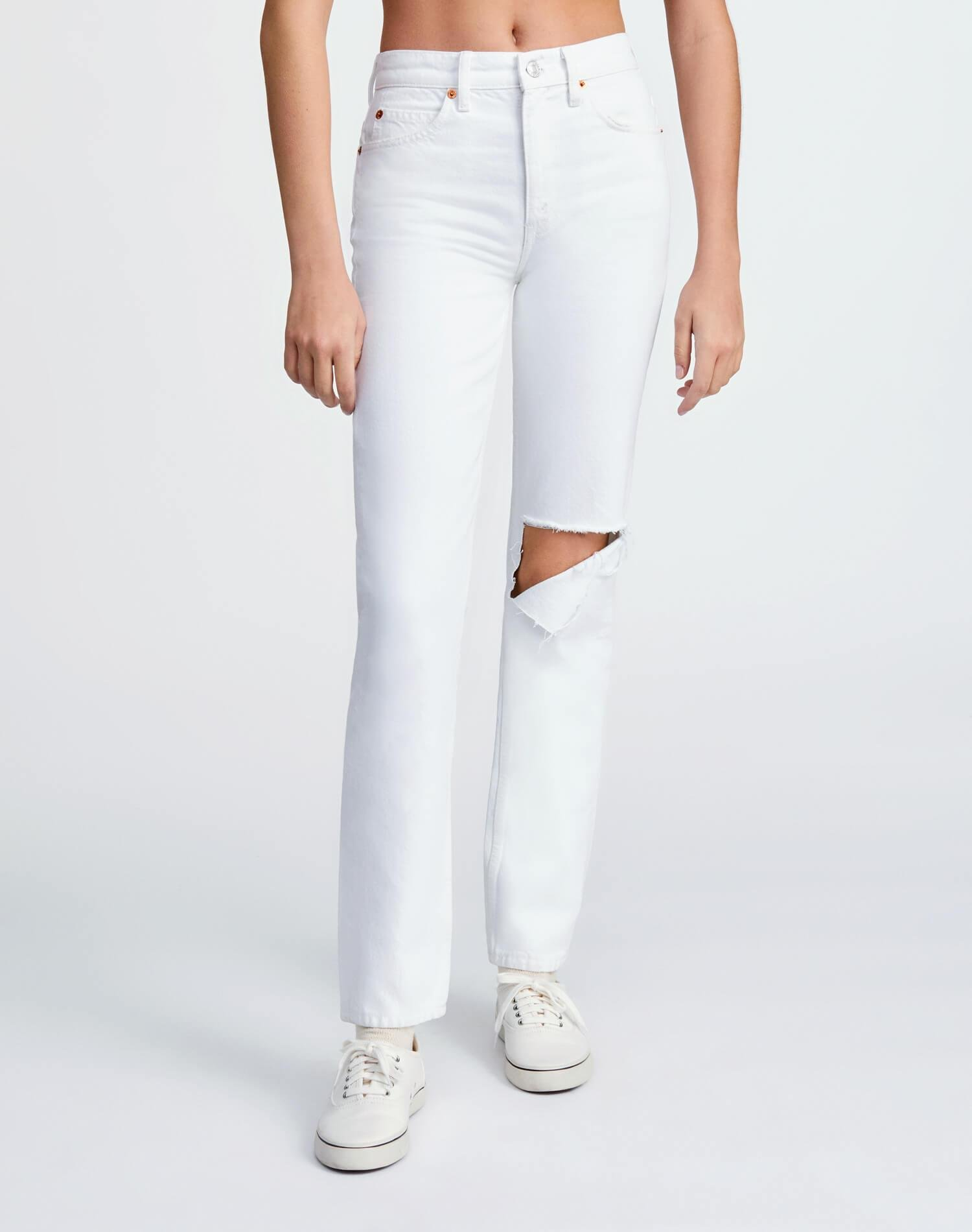 70s Straight - White with Rips