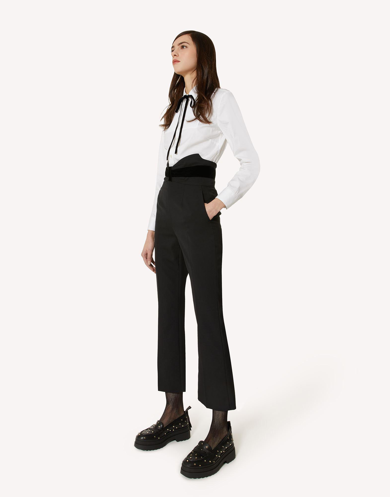 TUXEDO BOW DETAIL WOOL STRETCH REPS PANTS 2