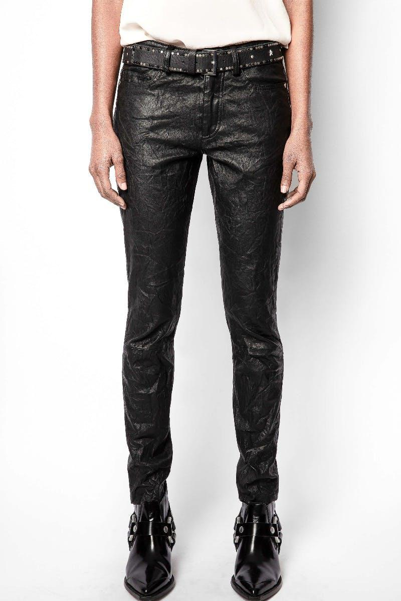 Phlame Crinkle Leather Pants 1