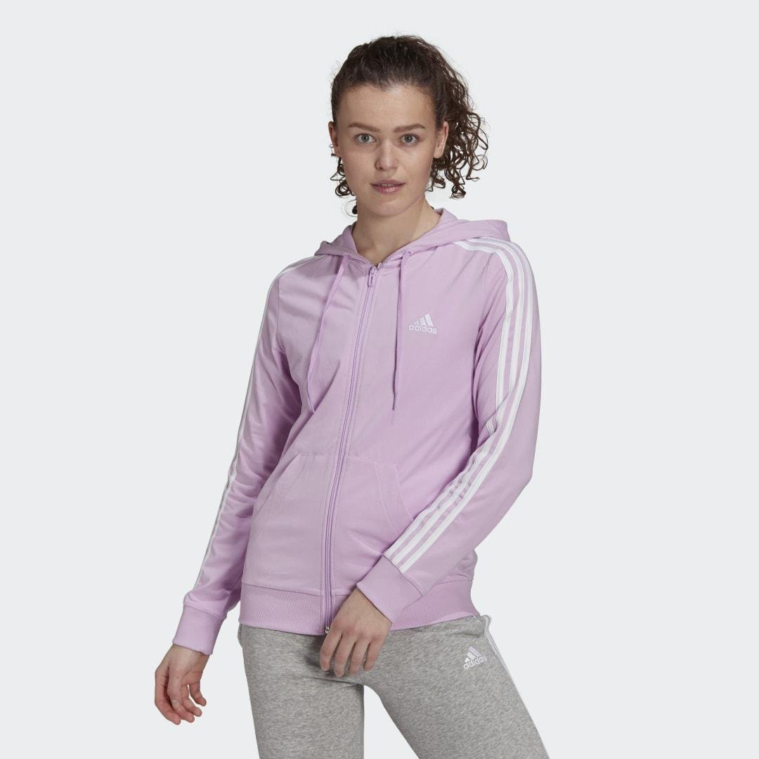 Essentials Single Jersey 3-Stripes Full-Zip Hoodie Clear Lilac