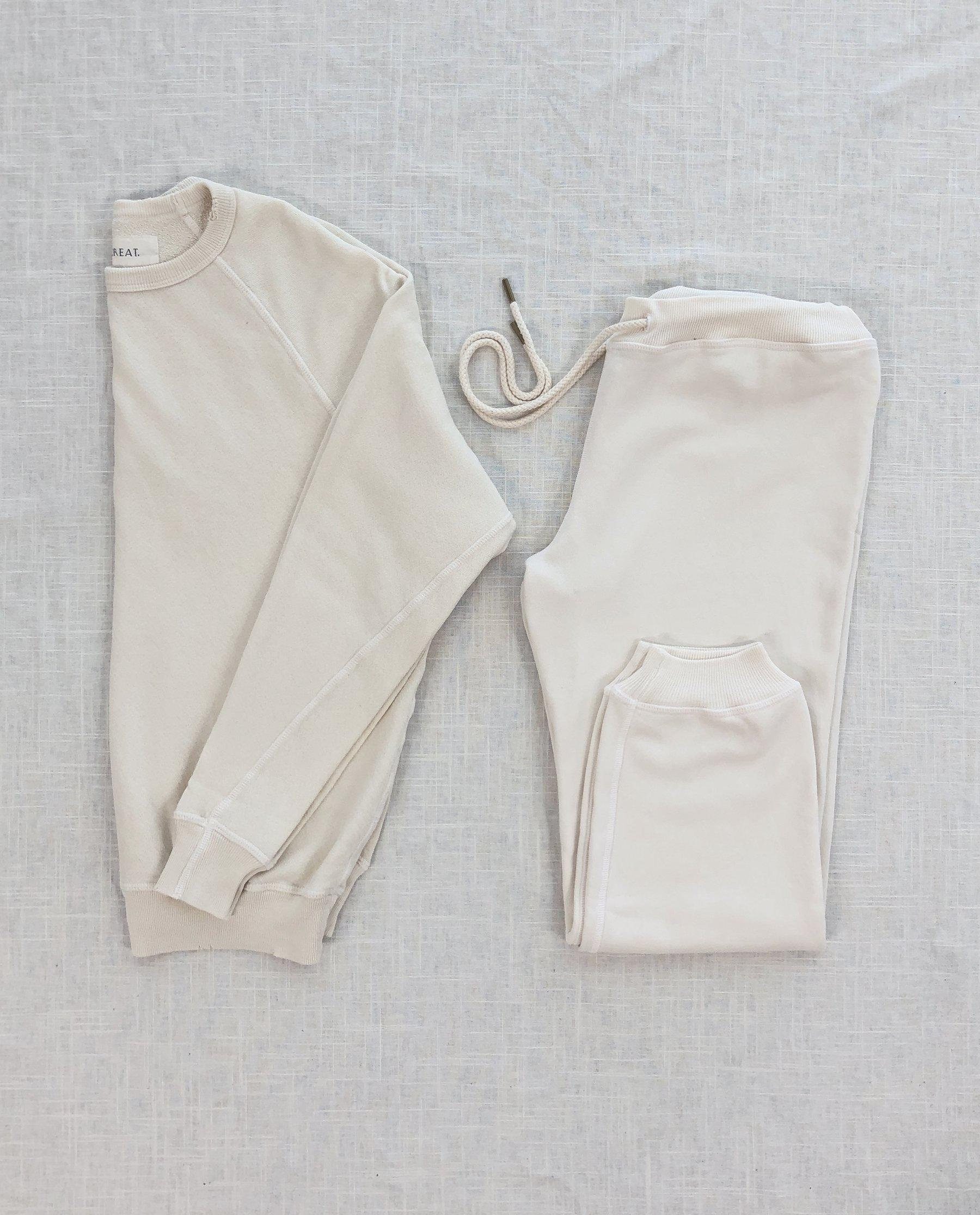 The College Sweatshirt and The Cropped Sweatpant Set. -- Washed White 2