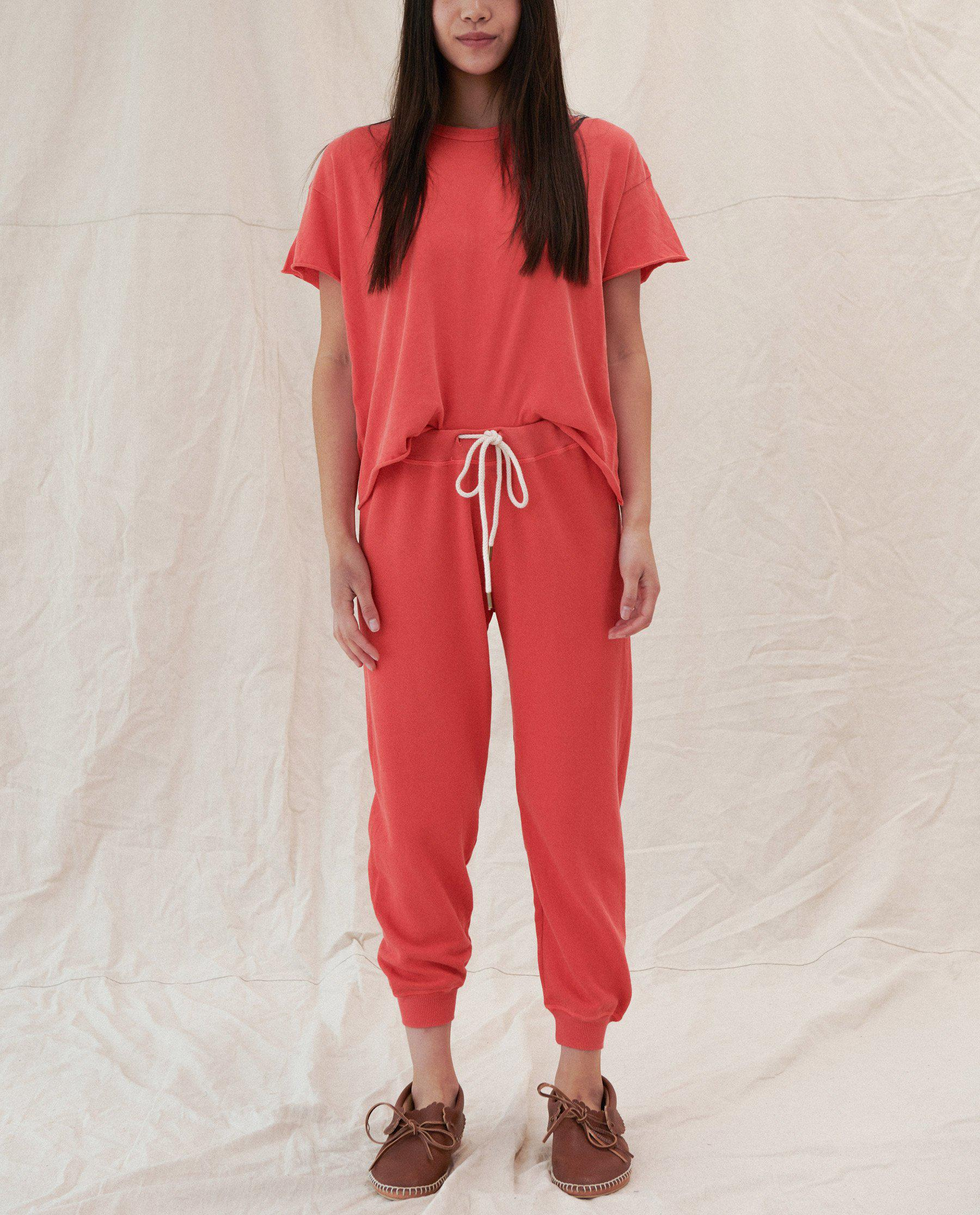The Cropped Sweatpant. Solid -- BARN RED